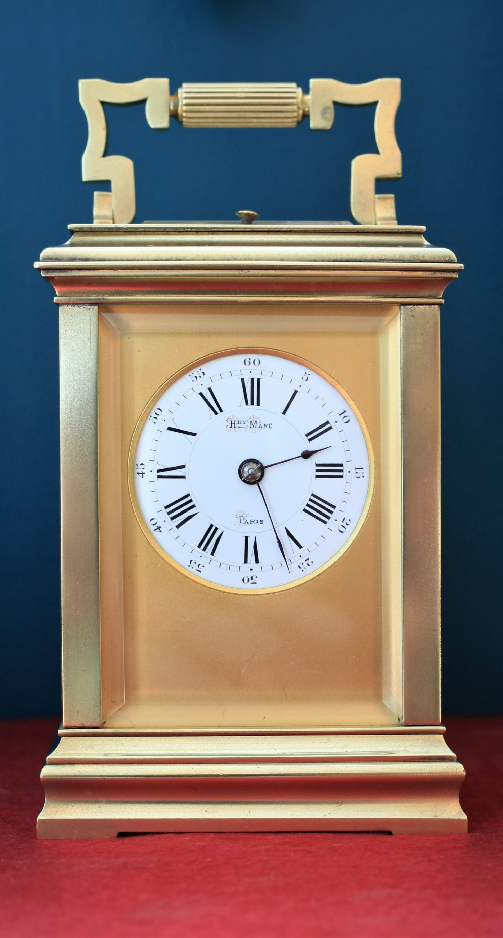 a mid 19th century matt gilt strikerepeat carriage clock by henri marc henry