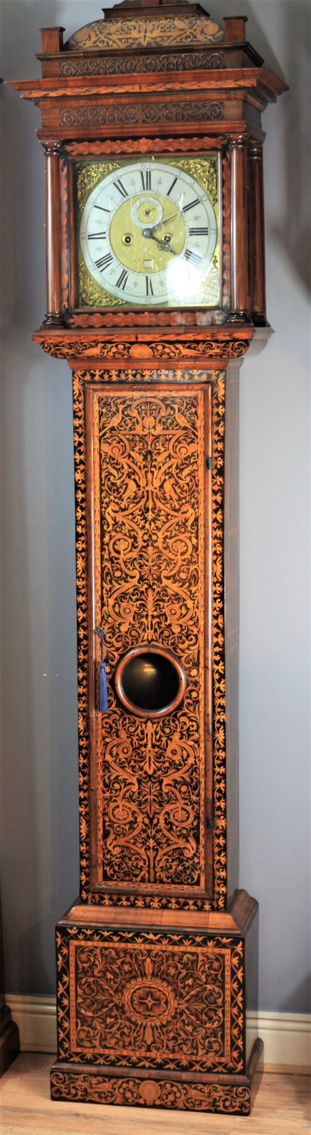 exceptional quality william and mary arabesque marquetry longcase clock by john gammon c1690