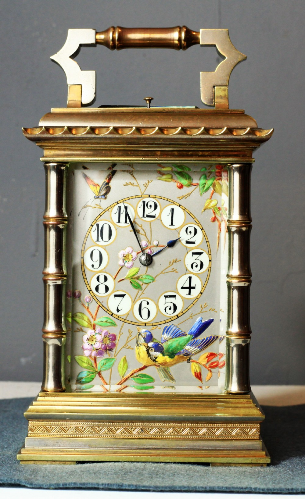 very rare bamboo cased limoges panel striking carriage clock c1860
