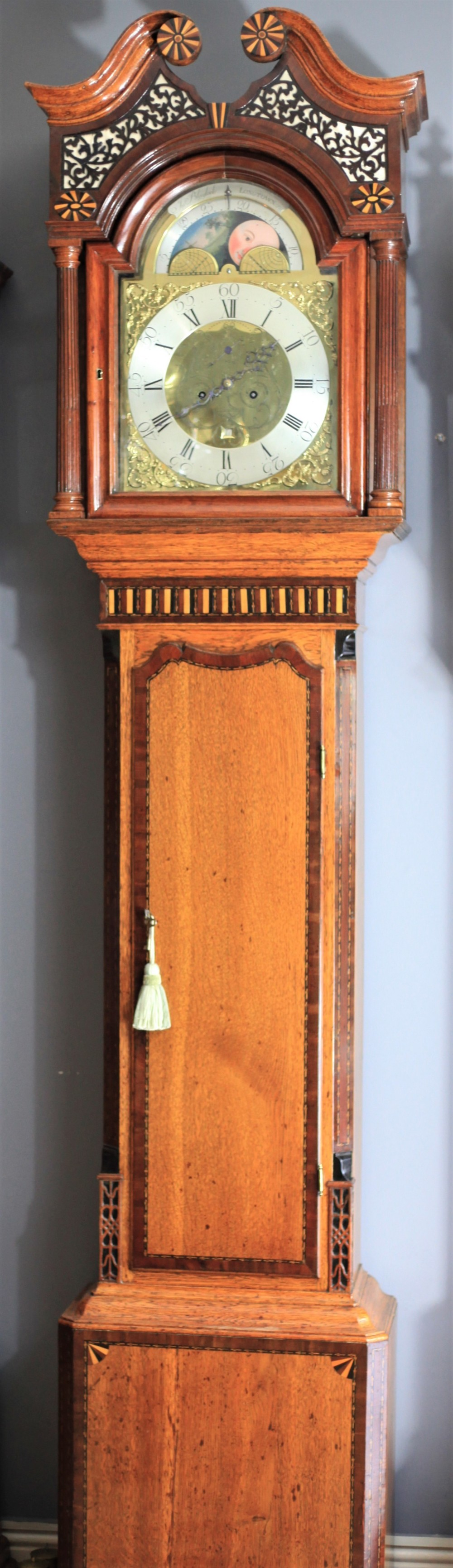 figured oak and inlay gillows longcase clock by john blaylock of longtown c1770