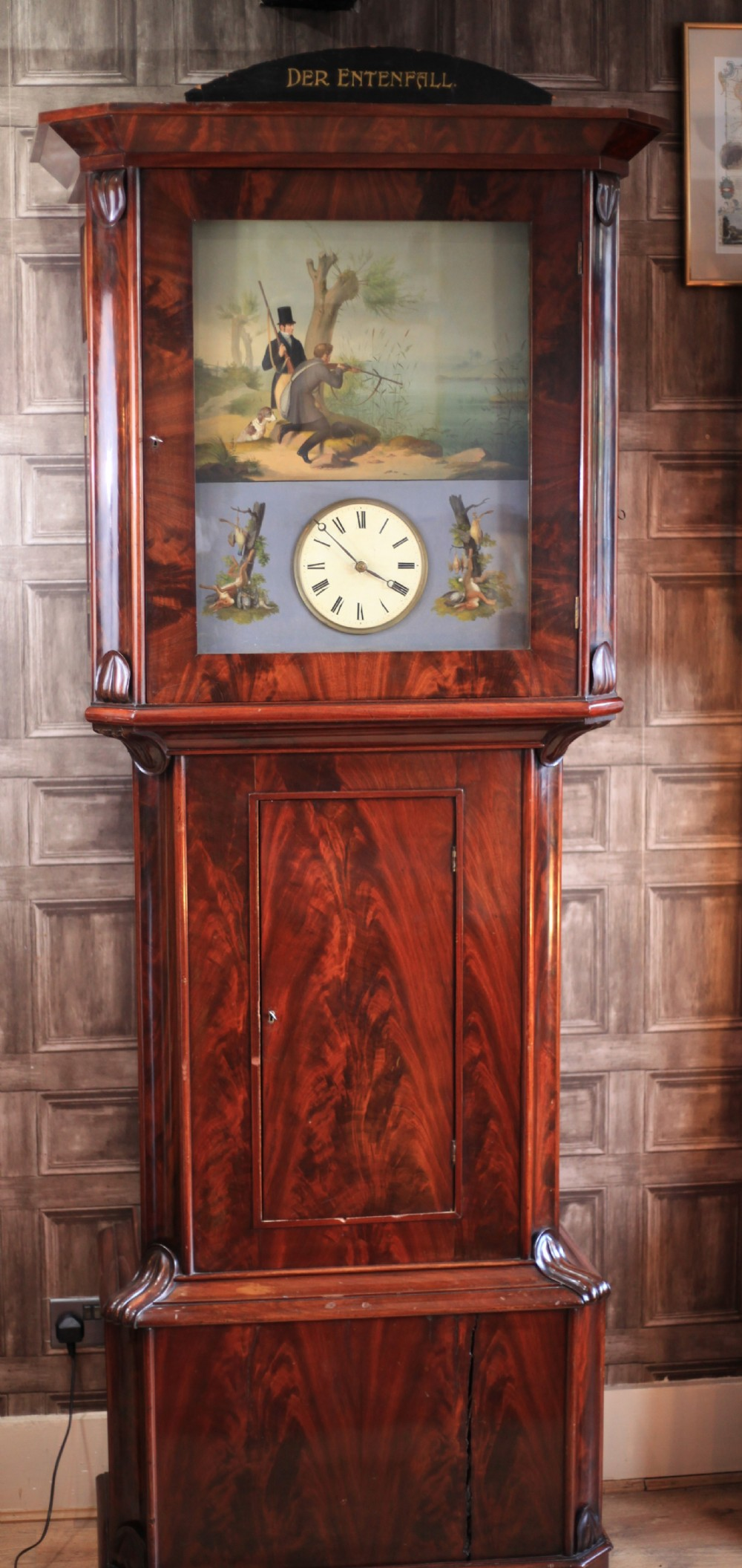 an important 39 pipe flute longcase clock called der entenfall by ignaz schoepperle c1840