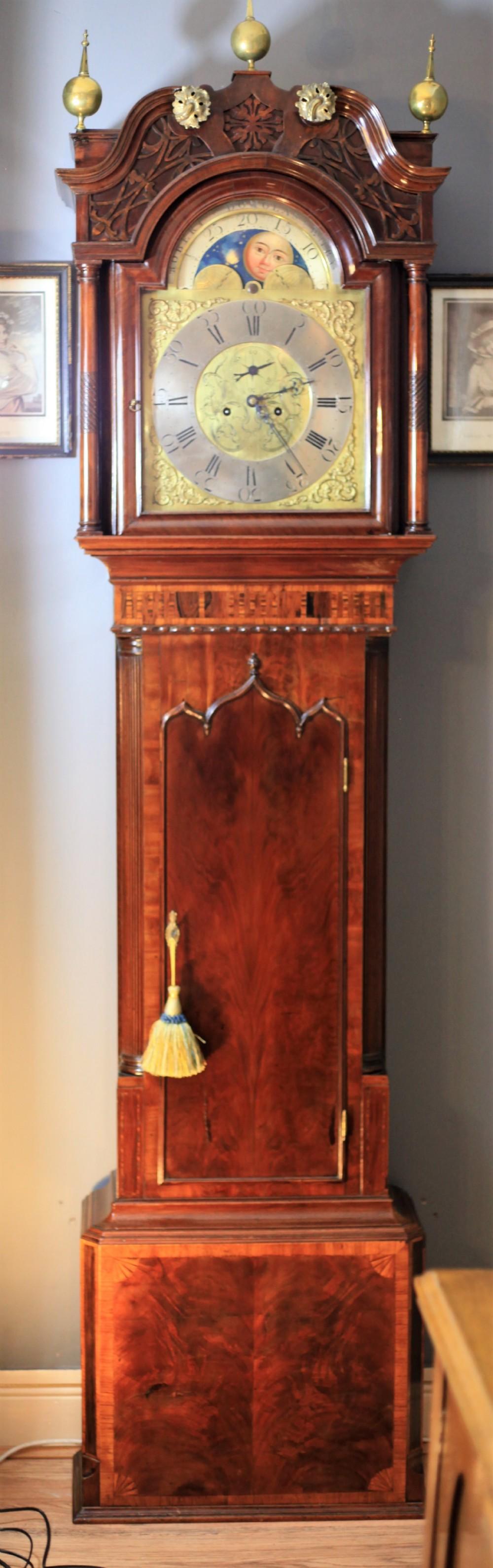 a fine georgian mahogany lancashire longcase clock by robert douglas of bury c1790