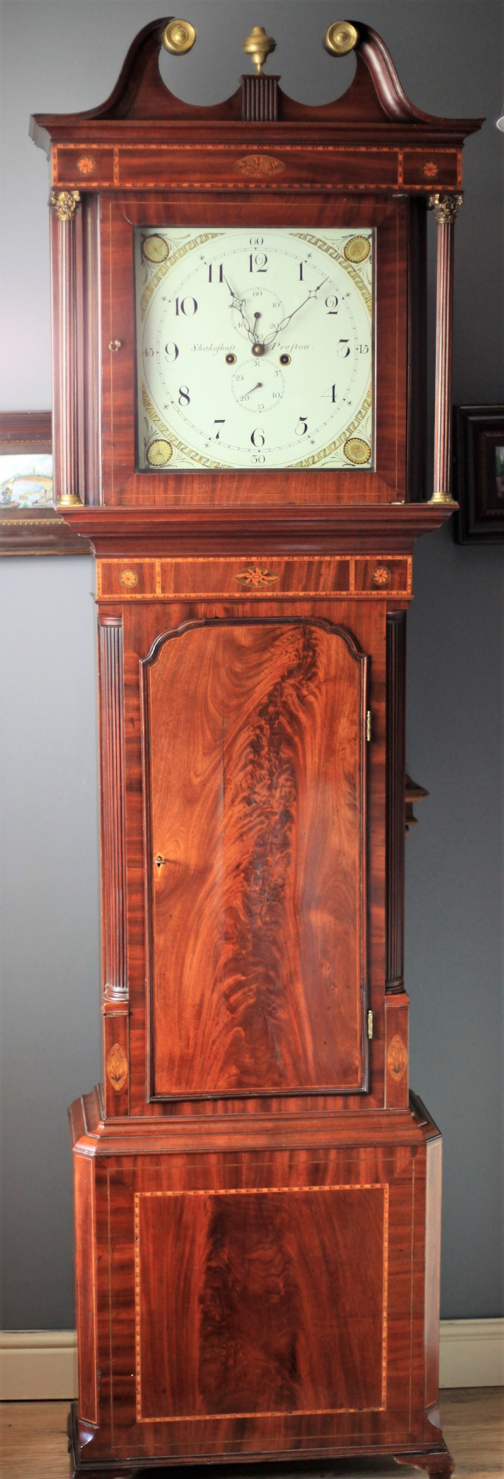 a fine flame mahogany and inlay longcase clock by william shakeshaft of preston c17901800