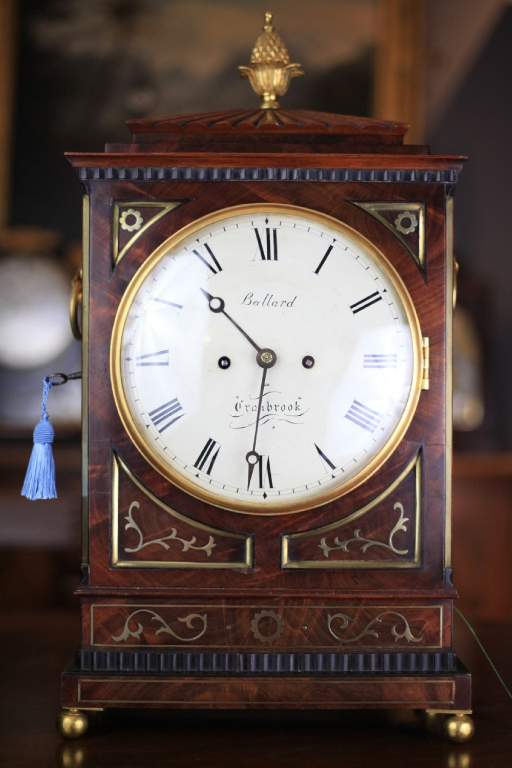 a regency period flame mahogany and bras inlay bracket clock by ballard of cranbrook c1820