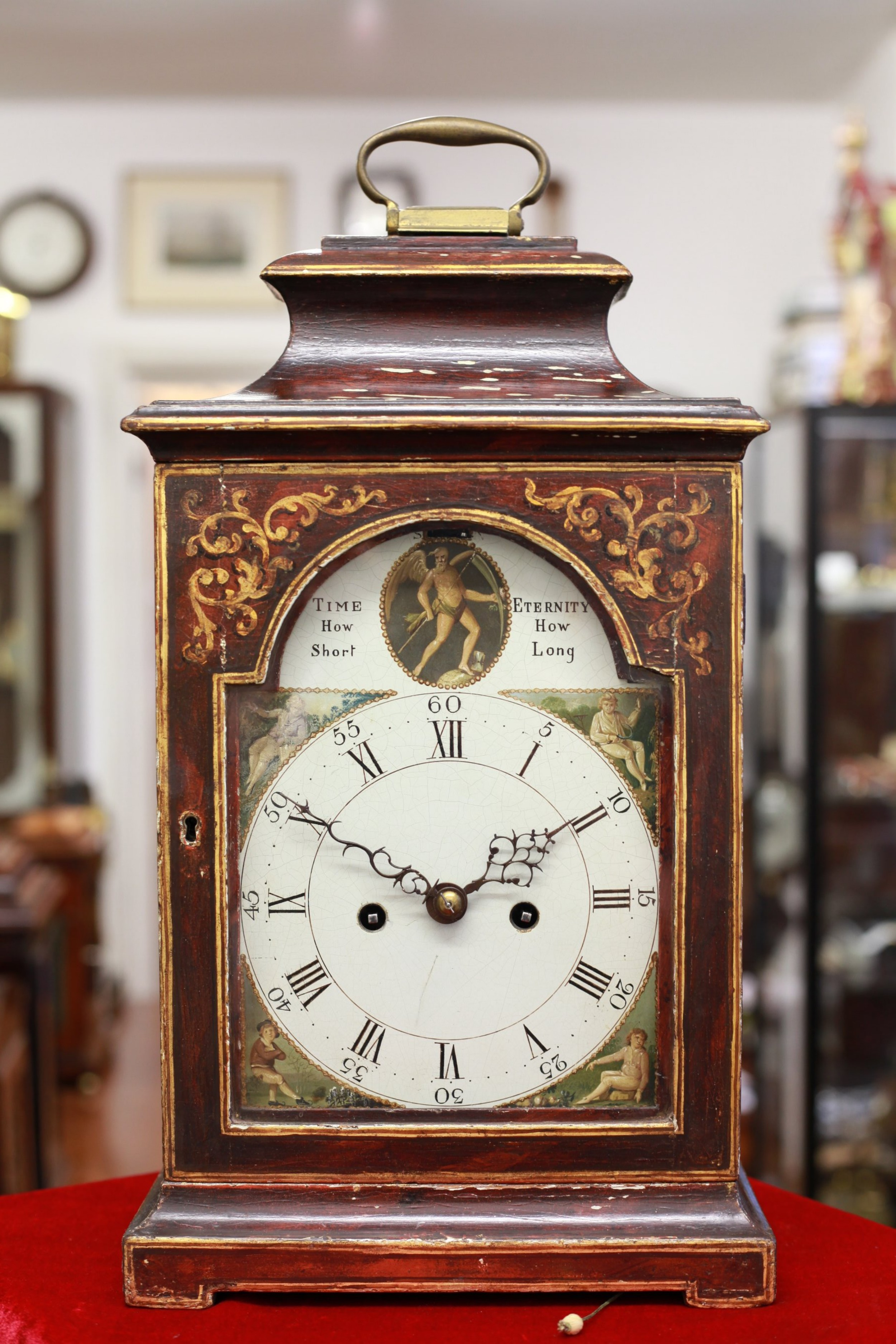 c1770 painted bracket clock with verge escapement pull repeat silence and engraved backplate