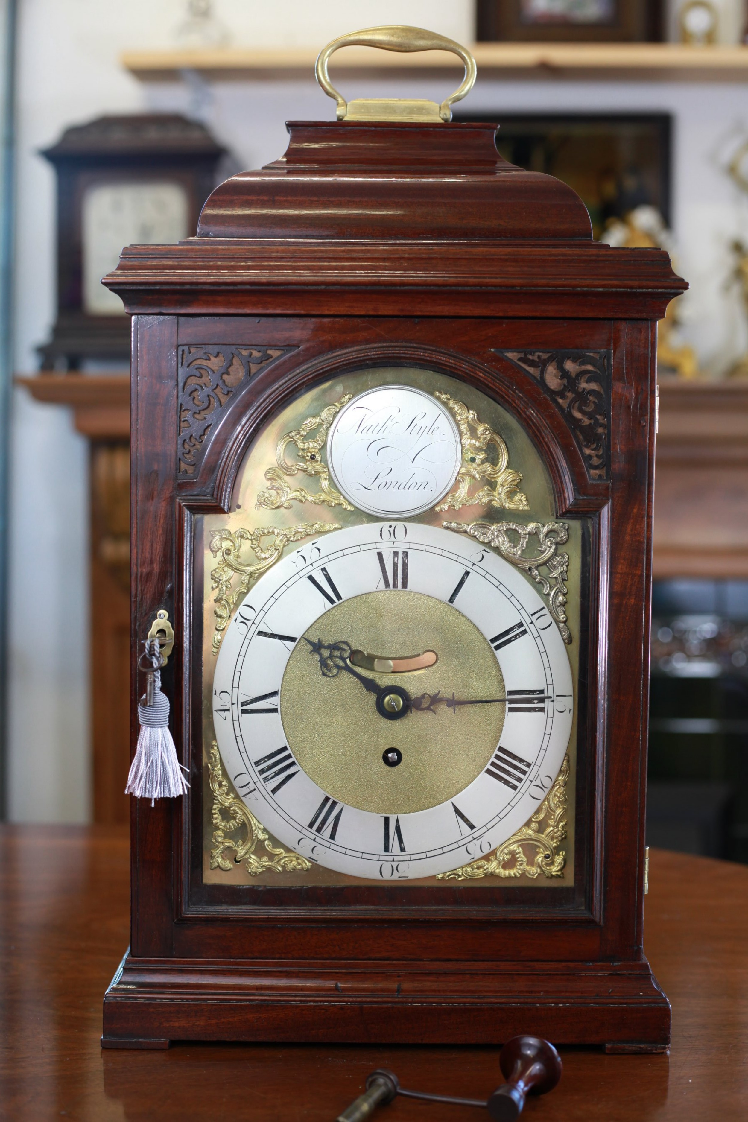 rare george ii mahogany bracket clock with verge escapement and mock pendulum