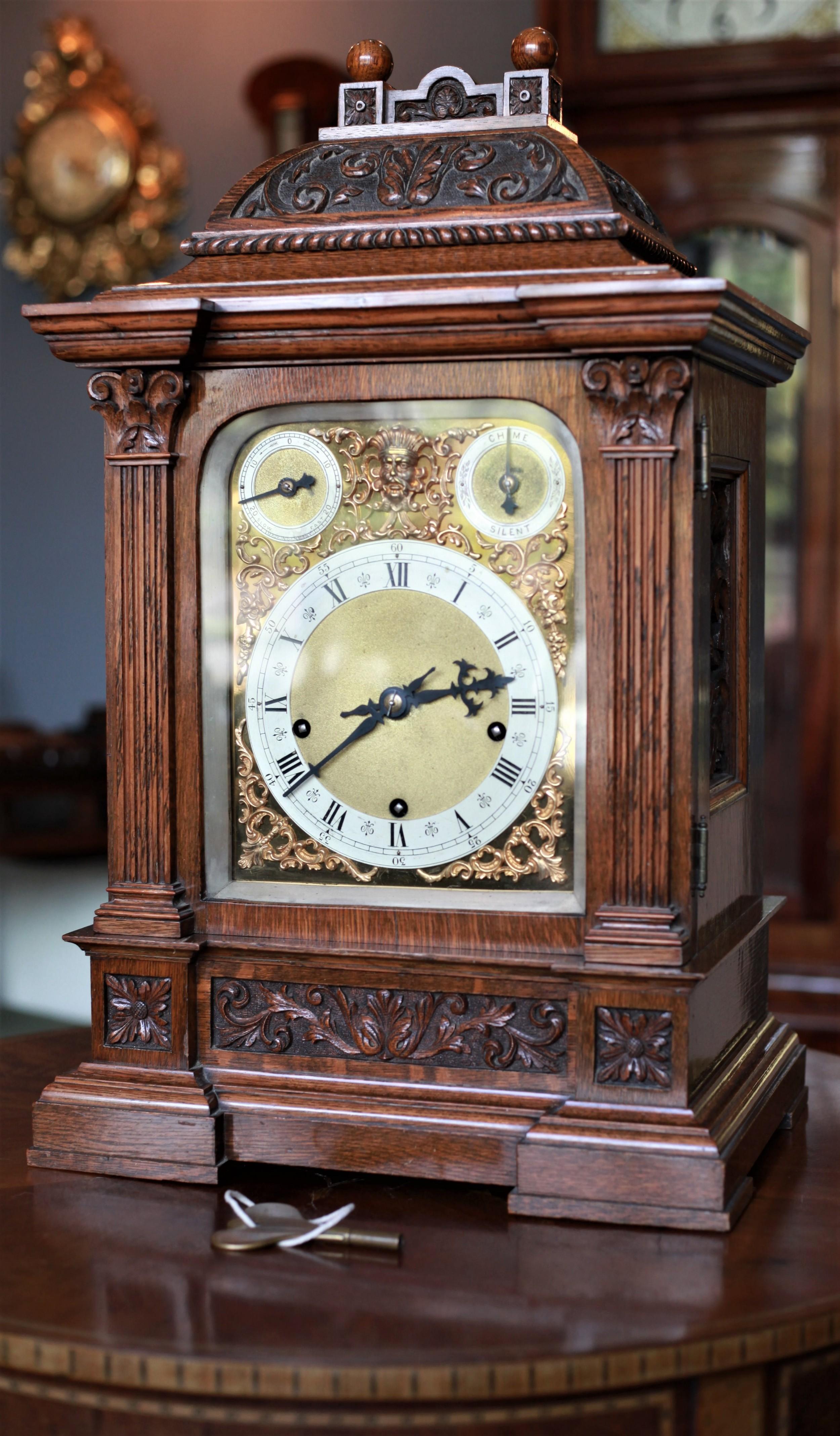 impressive quarter chiming highly carved oak winterhalder and hoffmeier bracket clock c1880