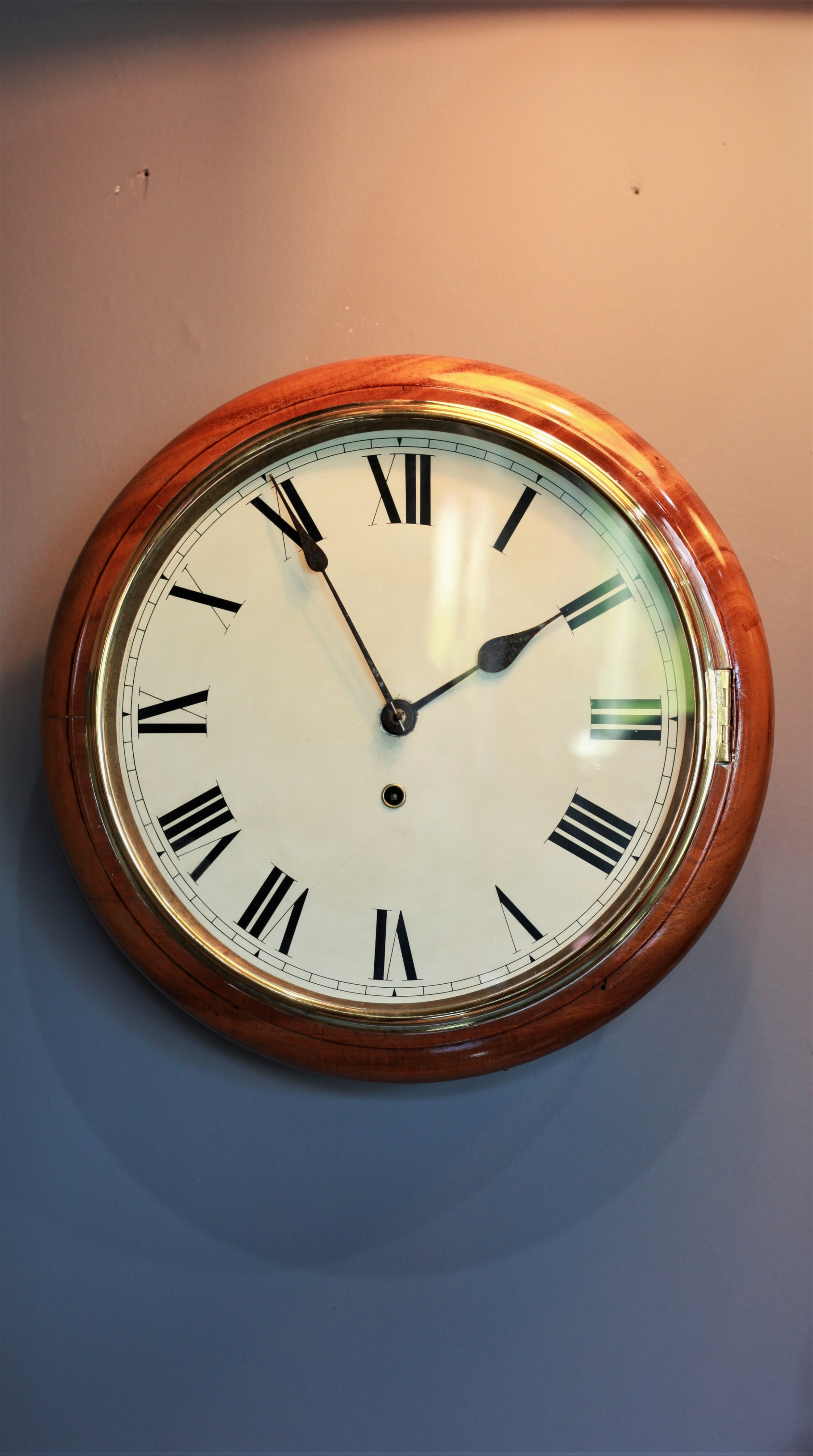 a pristine 20th century mahogany dial clock or school clock by smiths
