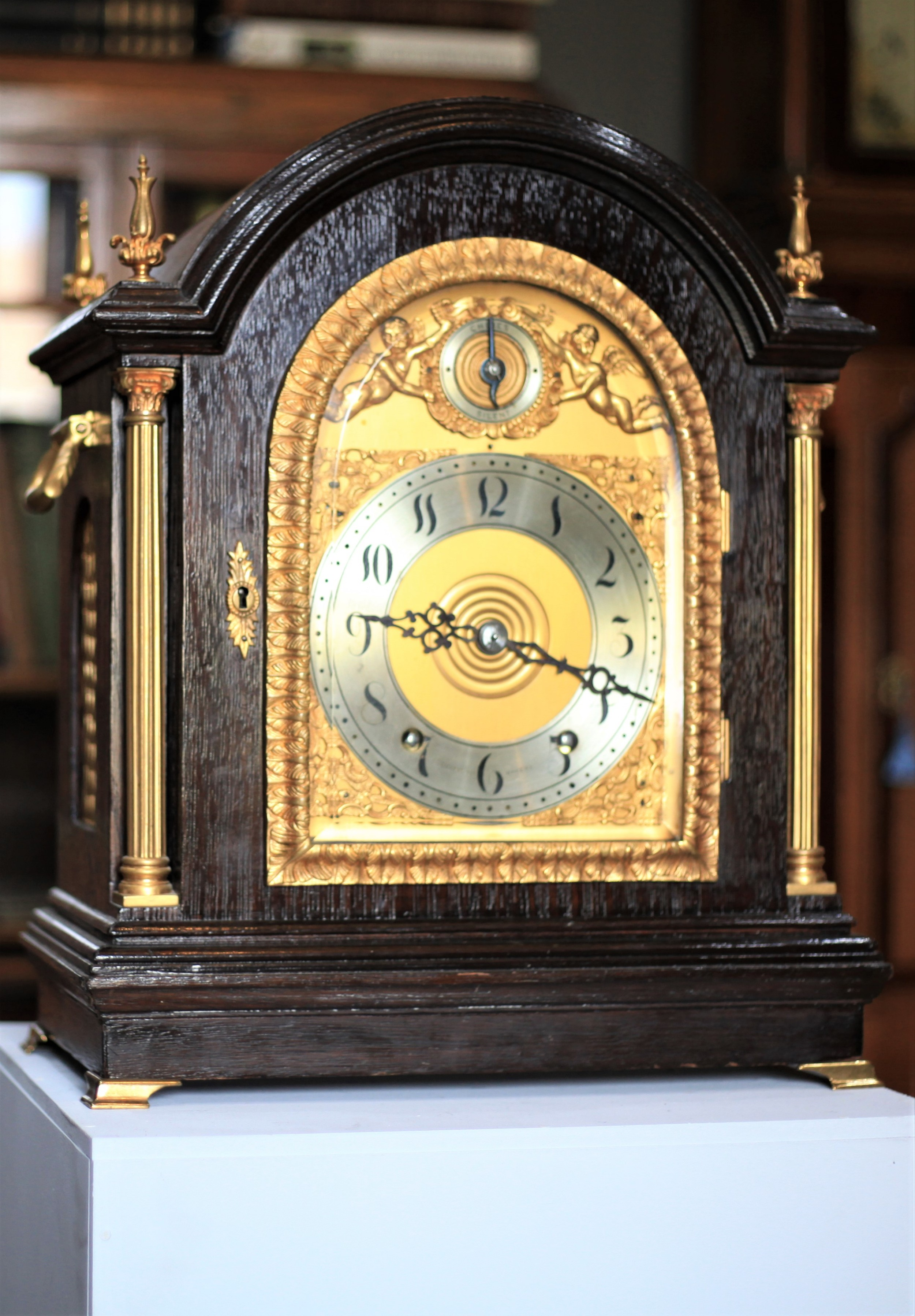 a quarter chiming fruitwood bracket clock by tiffany no 393