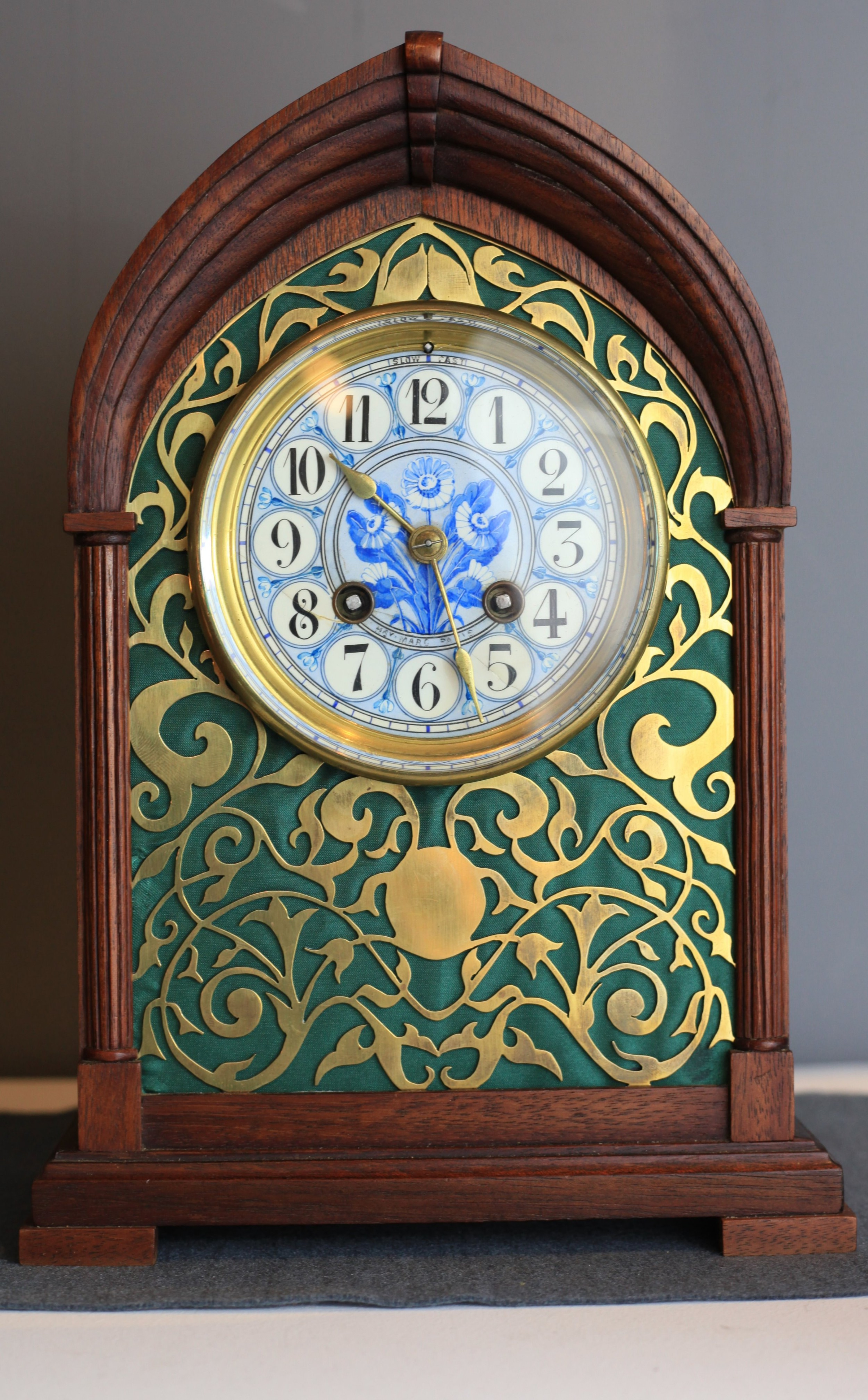 a unique mahogany and brass fretwork cased mantle clock by h marc c1880
