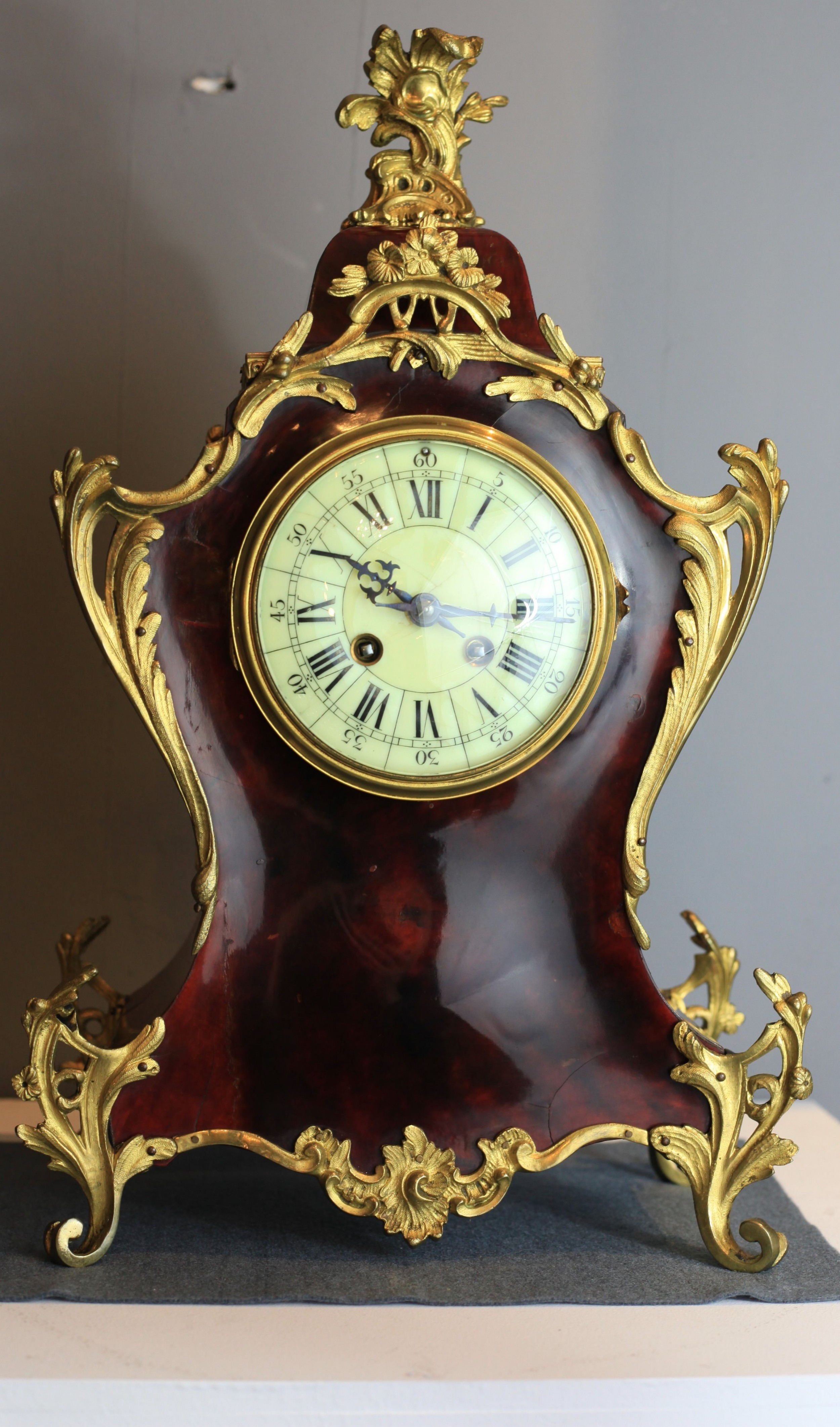 19th century tortoise shell striking ormolu clock c1880