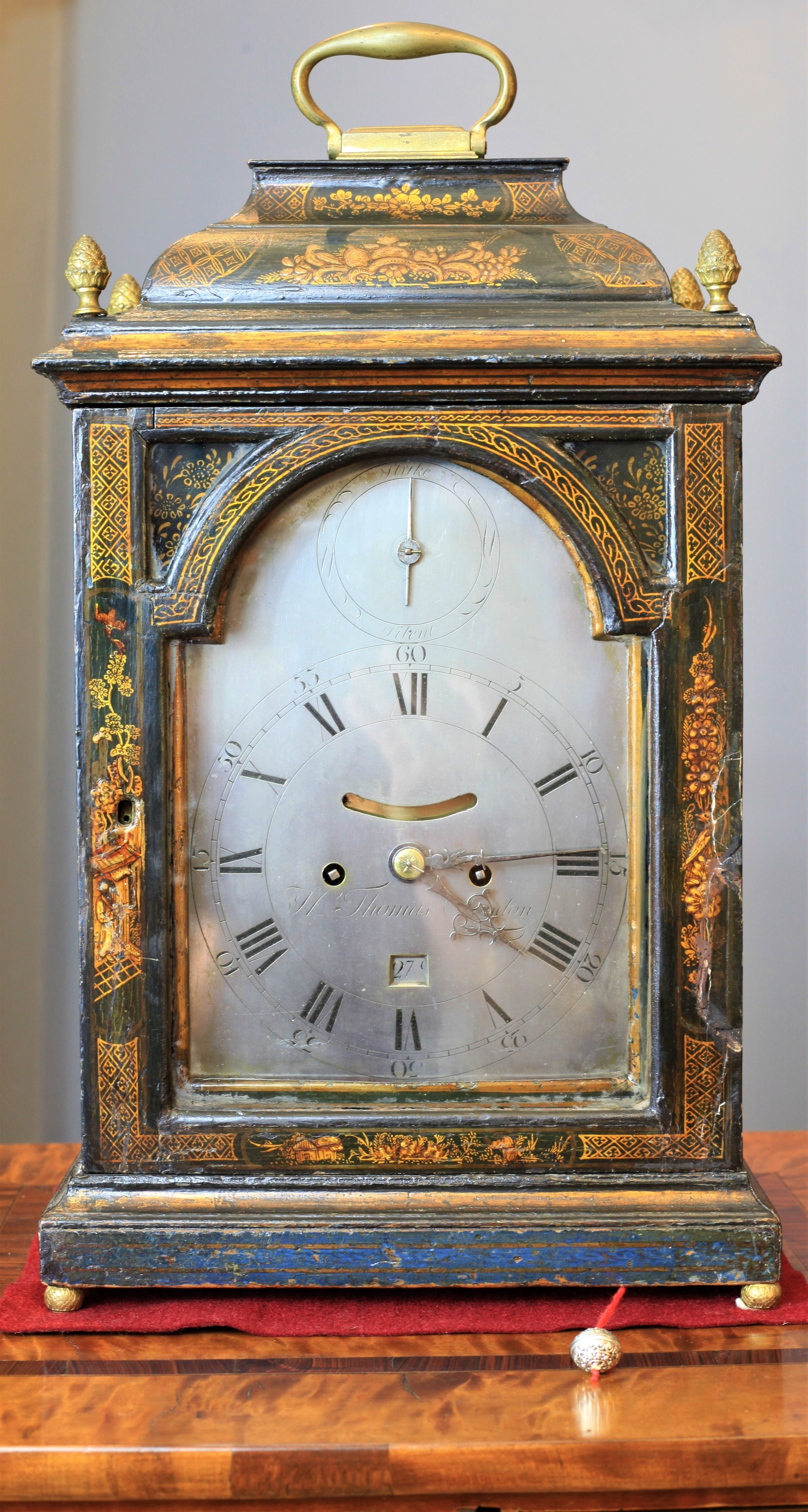 a very rare georgian chinoiserie verge bracket clock with pull repeat by h thomas c1730
