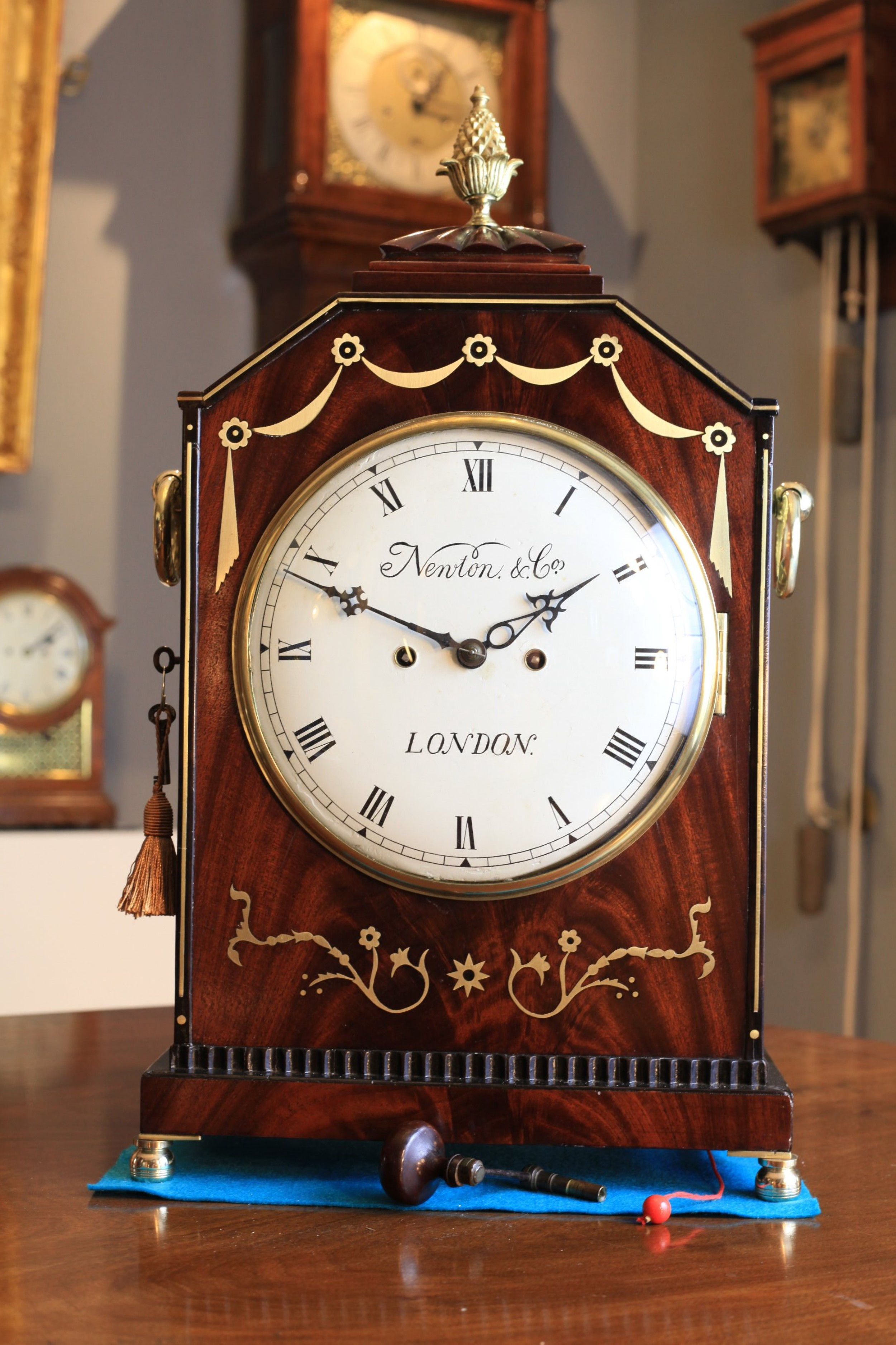 a georgian brass inlaid mahogany bracket clock with pull repeat by newton co c1815