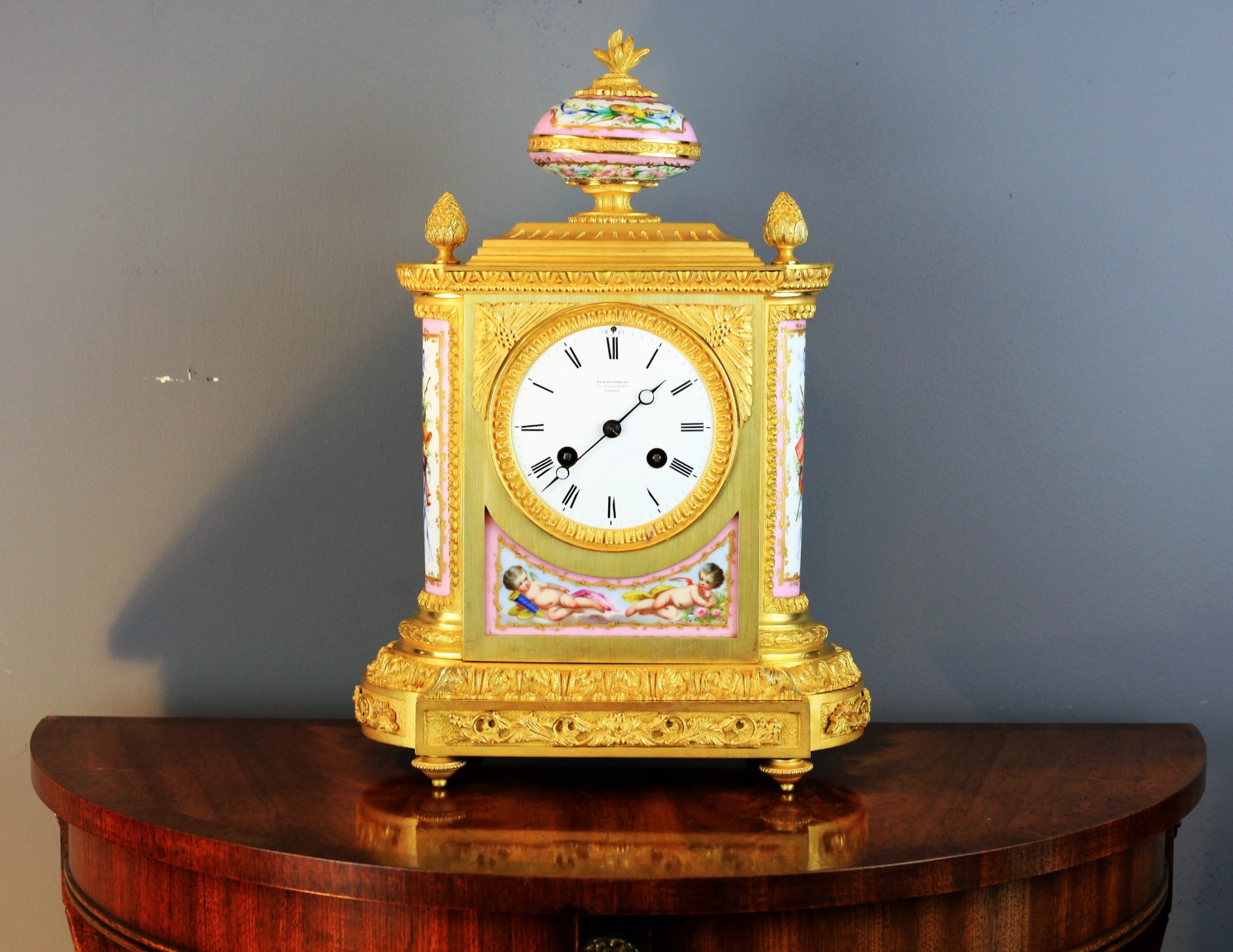 stunning gilt bronze and pink sevres panel french clock retailed by klaftenberger c1870