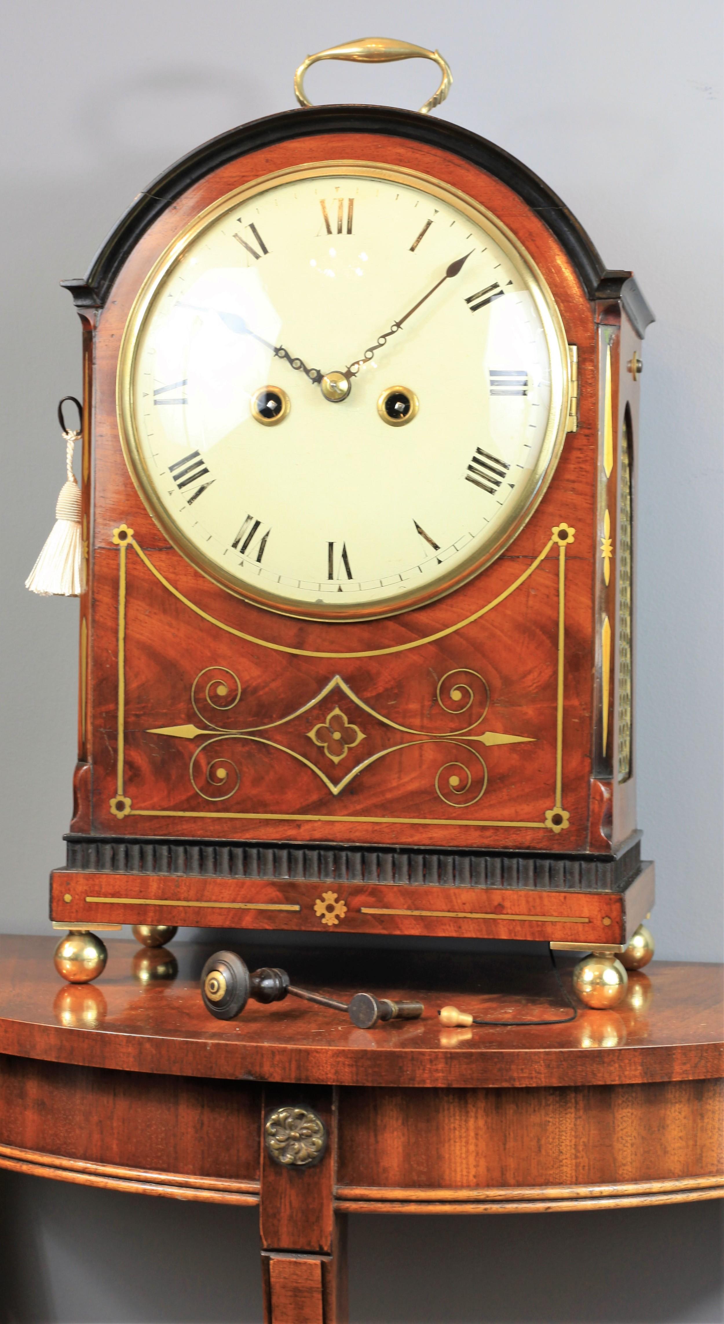 a georgian period mahogany bracket clock with brass inlay c1820