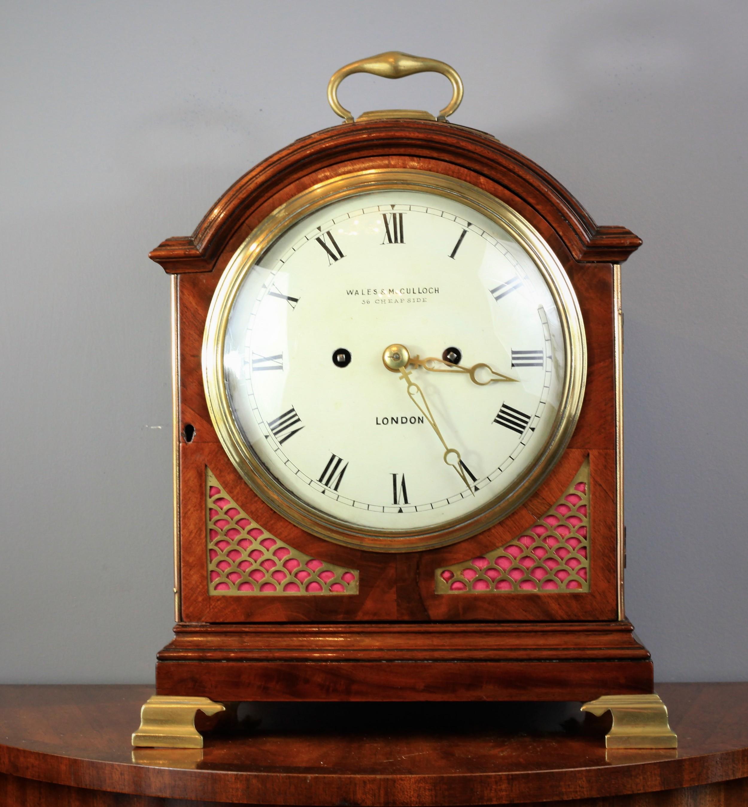 a georgian padtop flame mahogany bracket clock dawson peene c1830