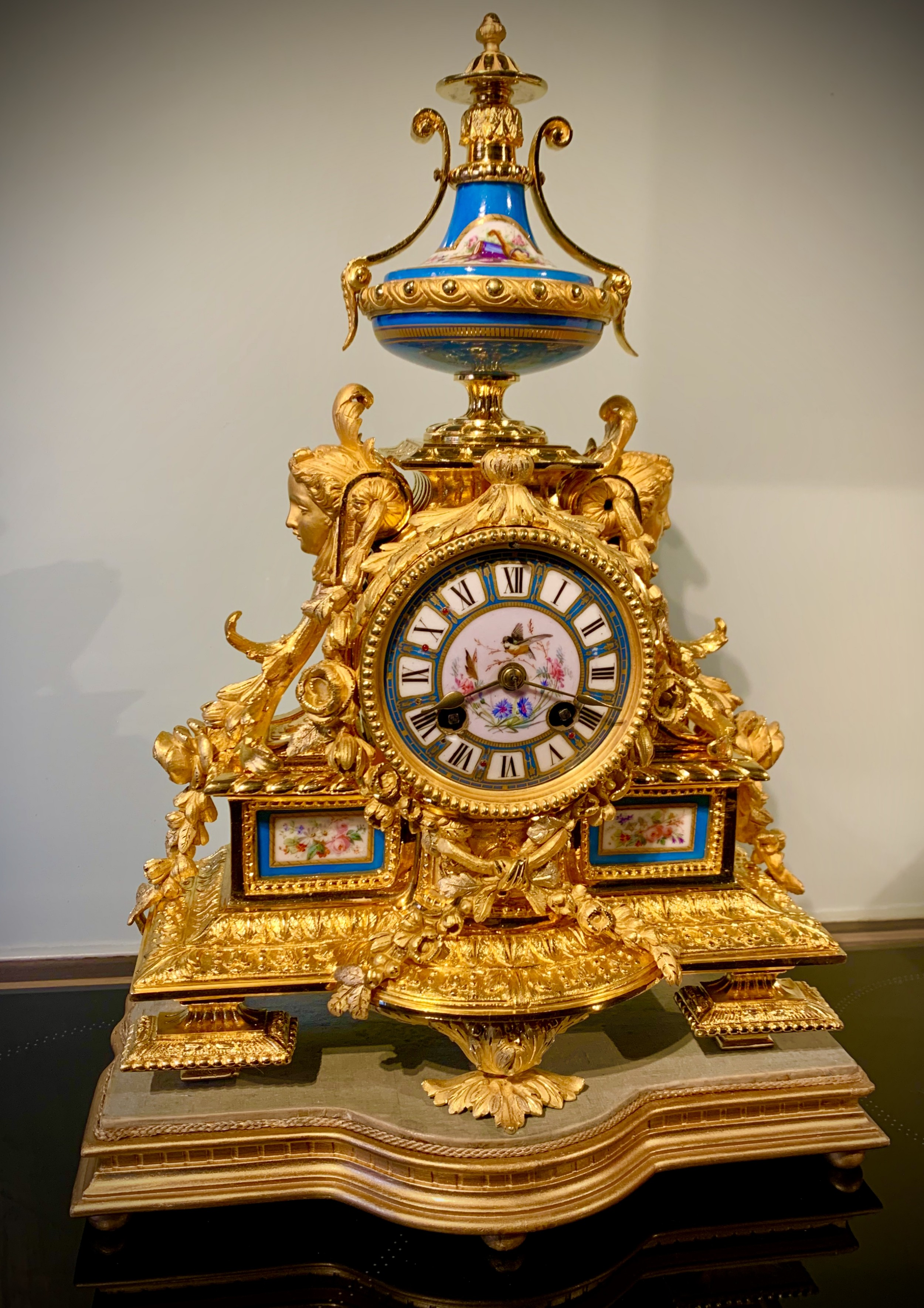 stunning french mercurial gilt and sevres panel clock by japy freres
