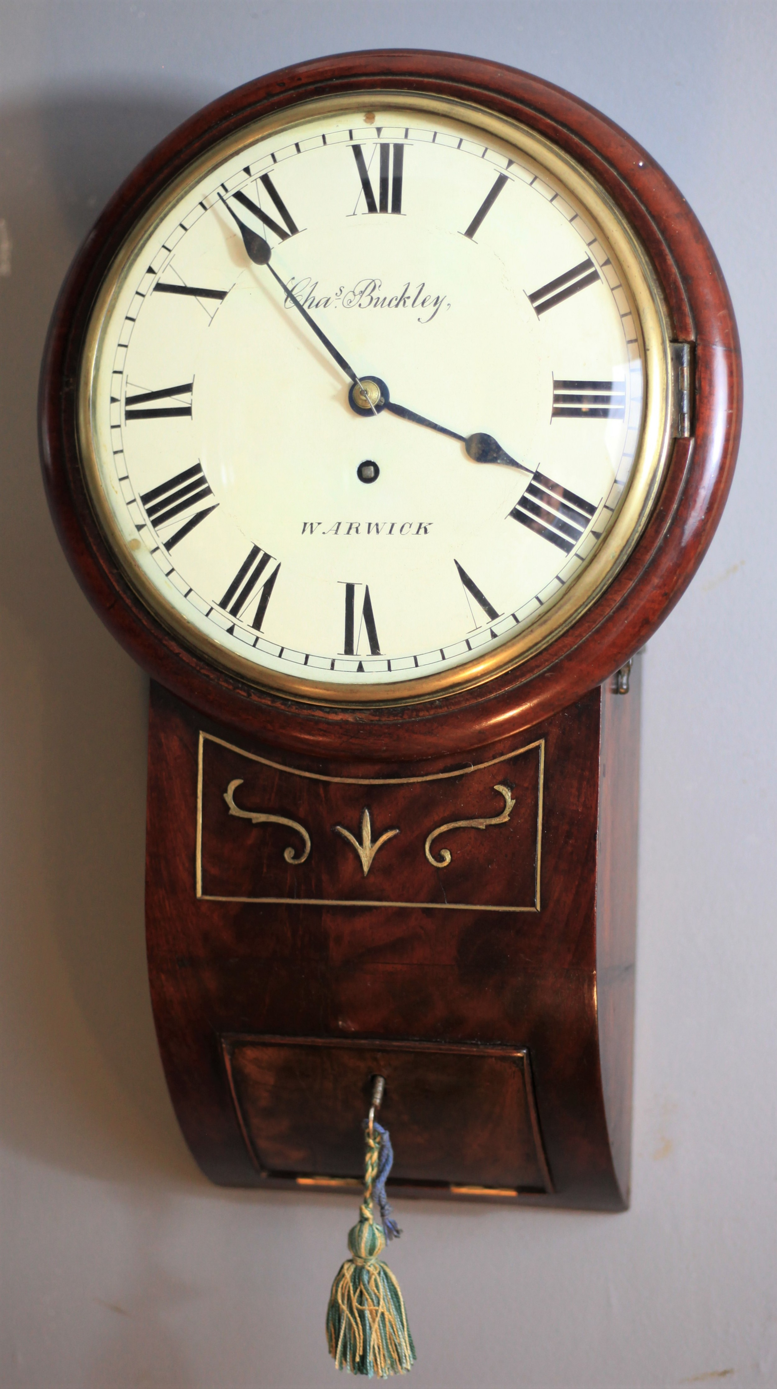 miniature 8 flame mahogany drop dial clock by charles buckley of warwick