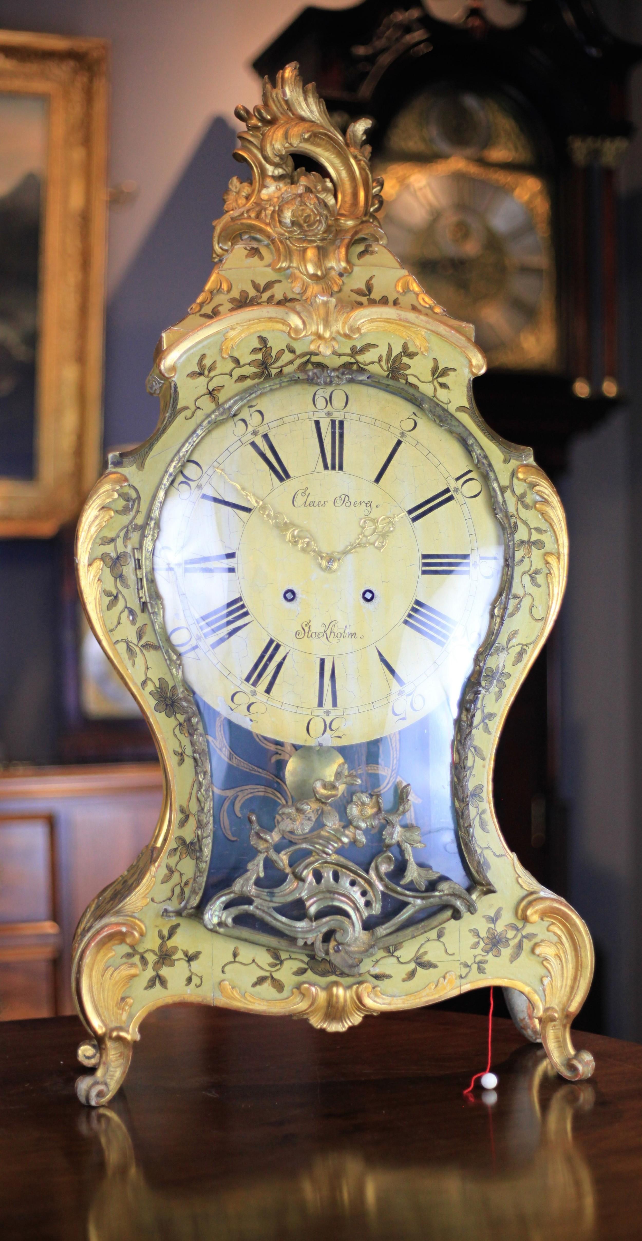 a rare mid 18th century swedish vernis martin bracket clock by claes berg stockholm c1750
