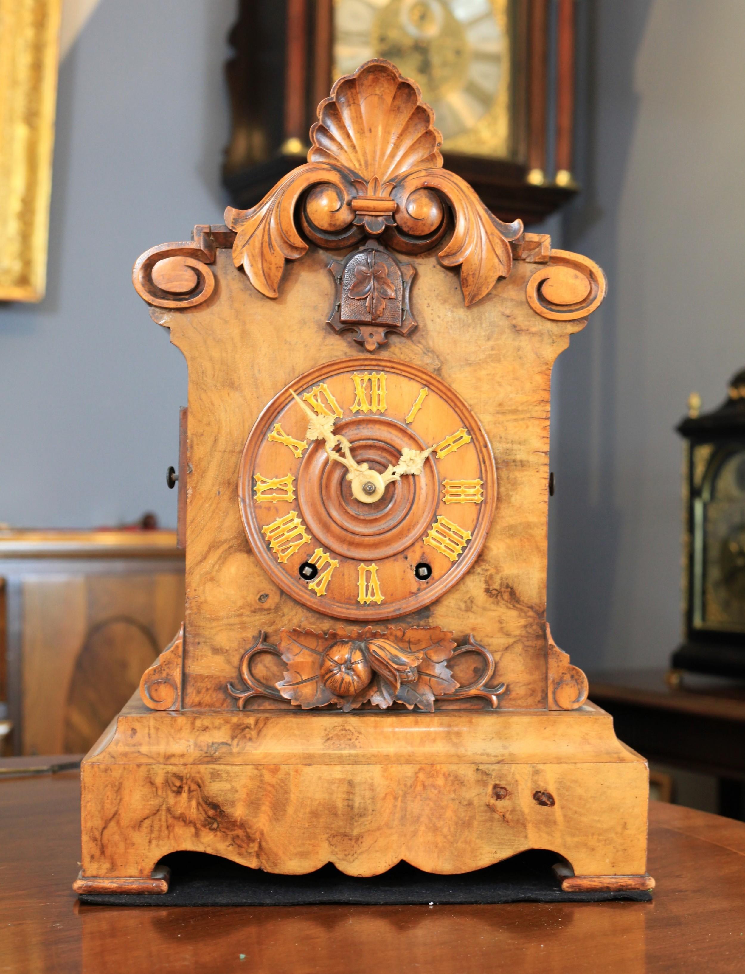 a rare beha double fusee burr walnut table cuckoo clock