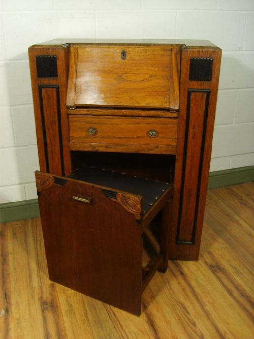 Antique art deco oak students bureau c1920 198129 for Deco bureau