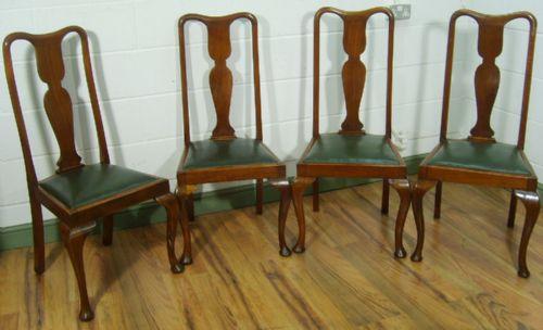antique queen anne style walnut cabriole leg dining chairs c1900 - Antique Queen Anne Style Walnut Cabriole Leg Dining Chairs C.1900