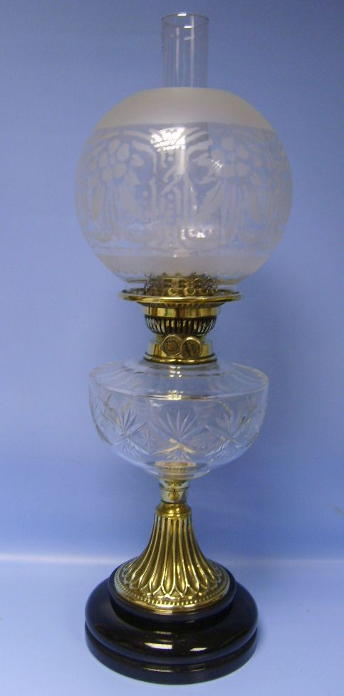 Victorian Cut Glass Veritas And Brass Oil Lamp With