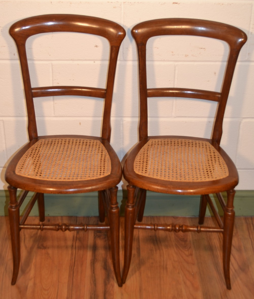 Pair Edwardian Mahogany Cane Seat Bedroom Chairs