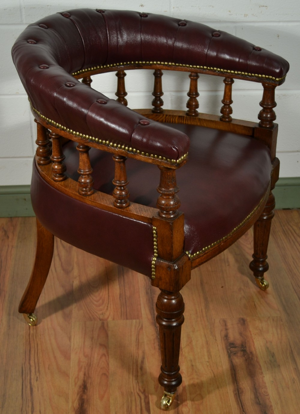 Victorian Oak Captains Chair With Antique Burgundy Leather Upholstery C1880