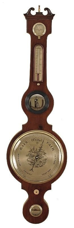 antique wheel barometer with rare scene to the main dial by c realini of preston
