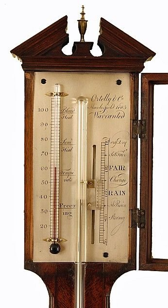 antique stick barometer by ortelly co of macclesfield - photo angle #2