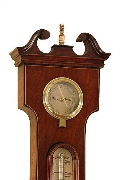 antique wheel barometer with rare scene to the main dial by c realini of preston - photo angle #3