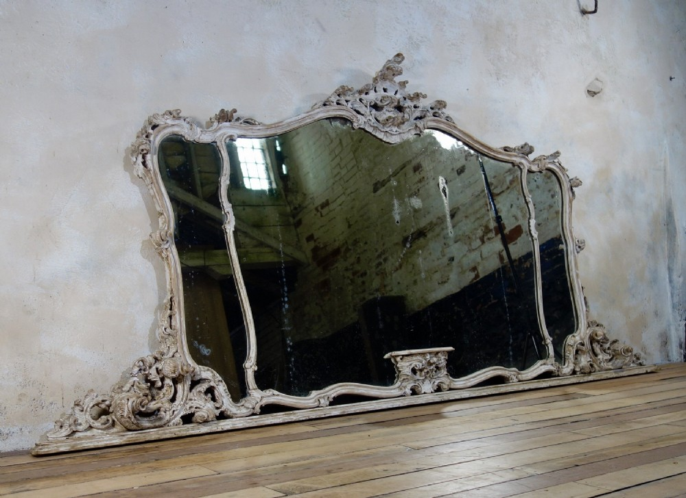 a exceptional 19th century french painted rococo overmantel wall mirror