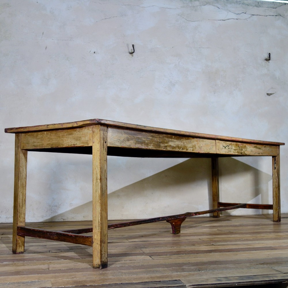 a large 19th century provincial original painted french farmhouse dining kitchen table