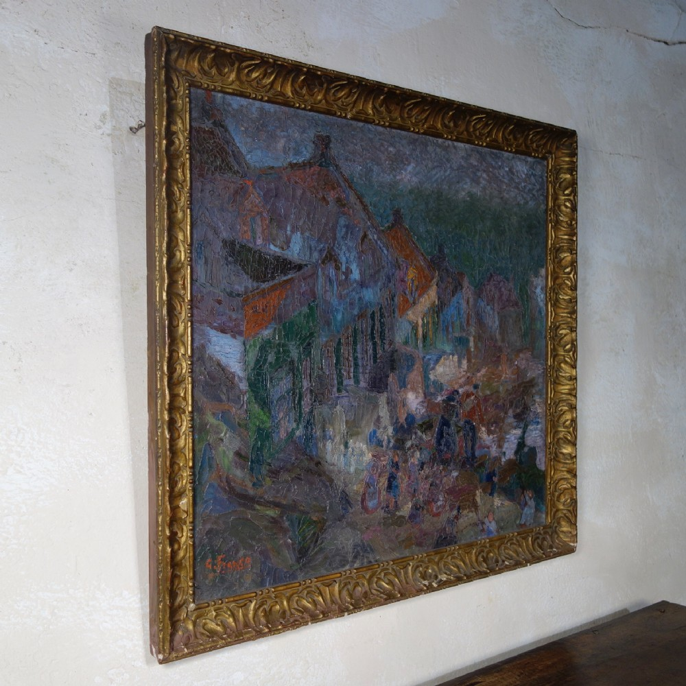 a large 20th century oil on canvas landscape painting square