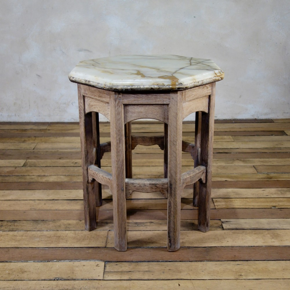a 19th century bleached oak octagonal side table onyx top