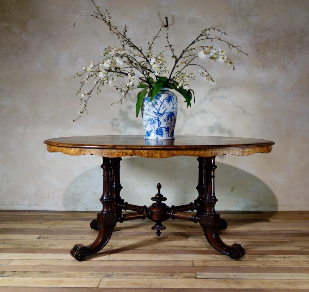 a 19th century oval burr walnut breakfast dining table