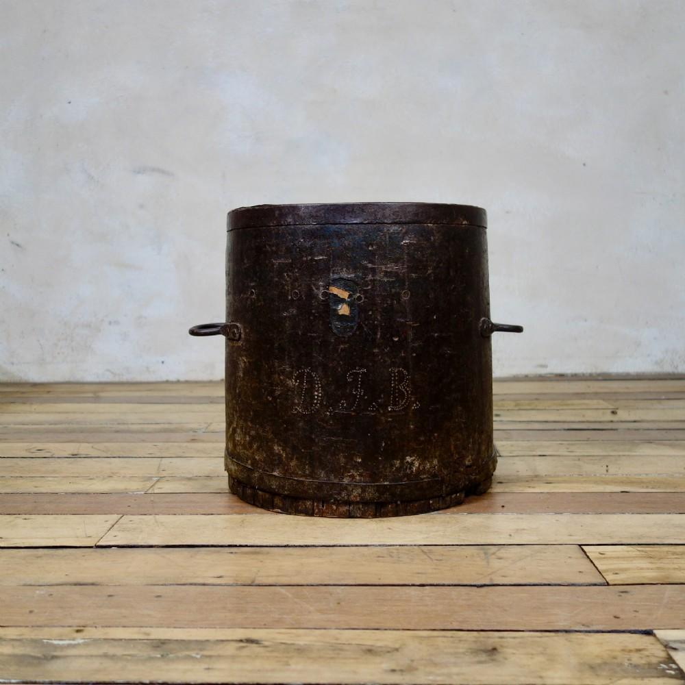 a primitive 19thcentury bushel barrel measure vessel