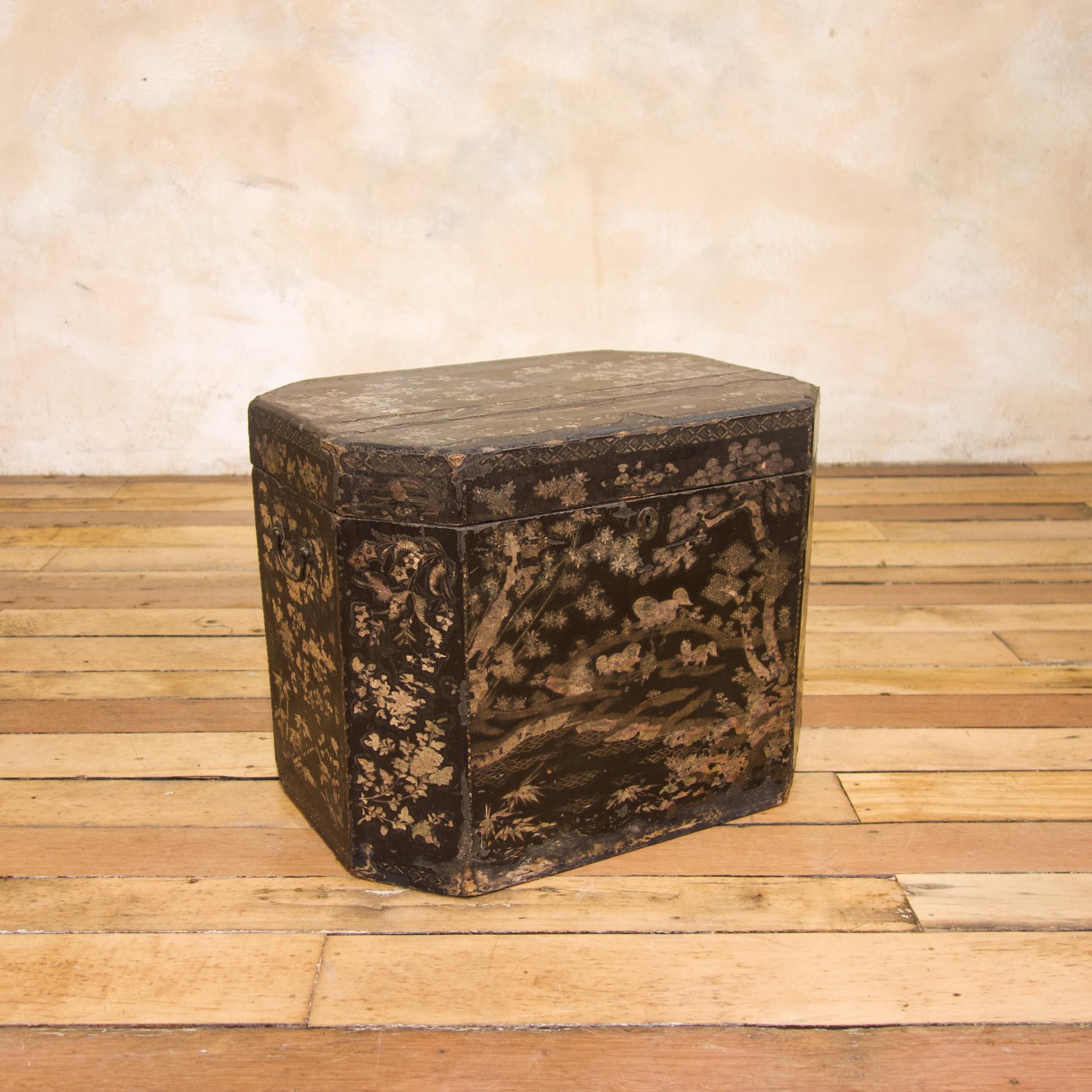 an 18th century chinese export lac de bergaute tea chest