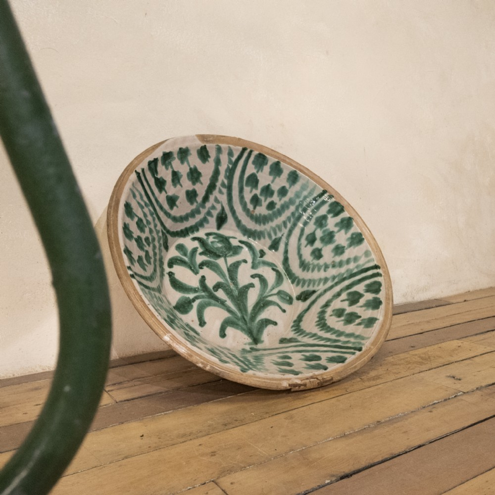 a large 19th century spanish granada fajalouza lebrillo bowl