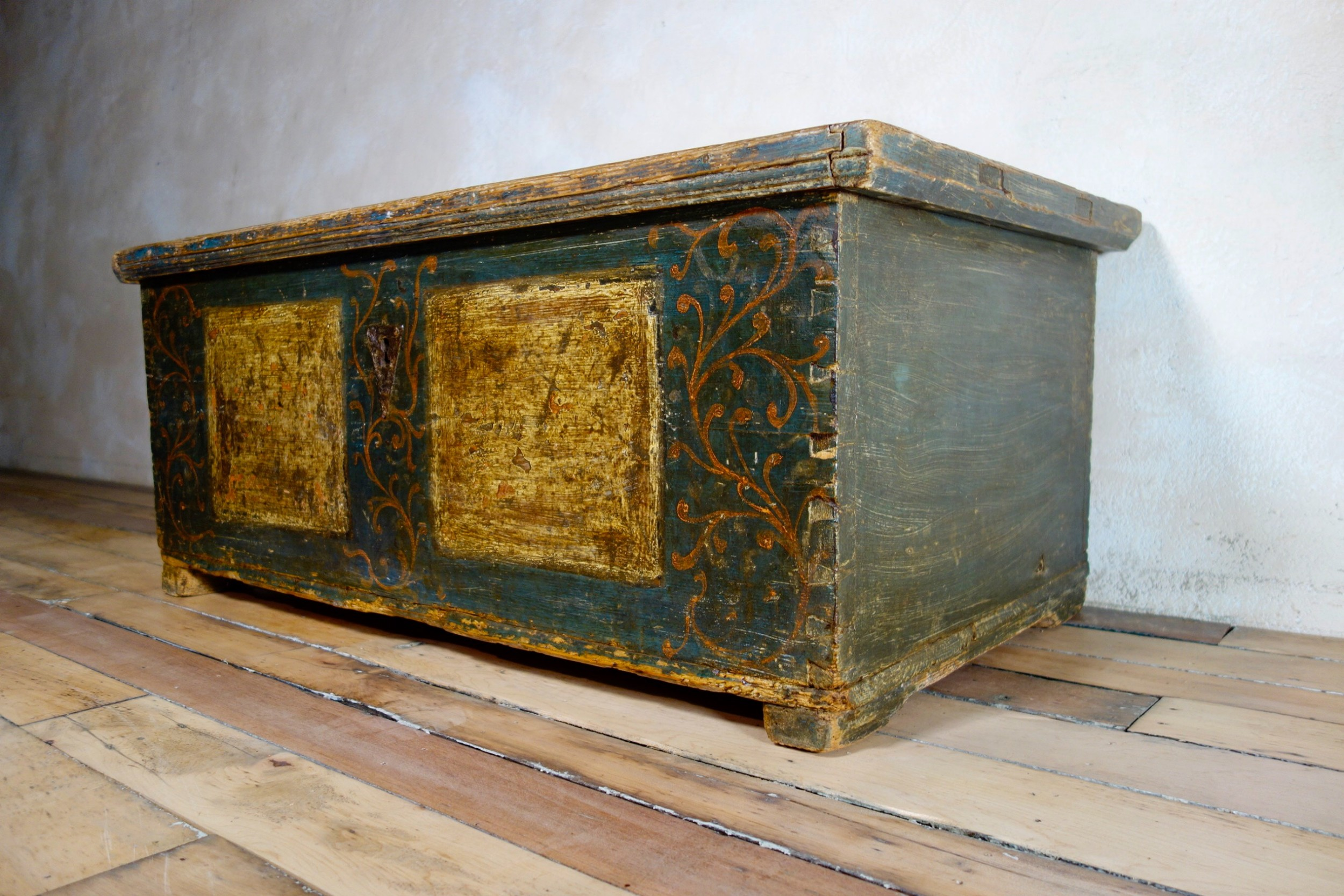 an 18th century continental painted dowry chest trunk coffee table