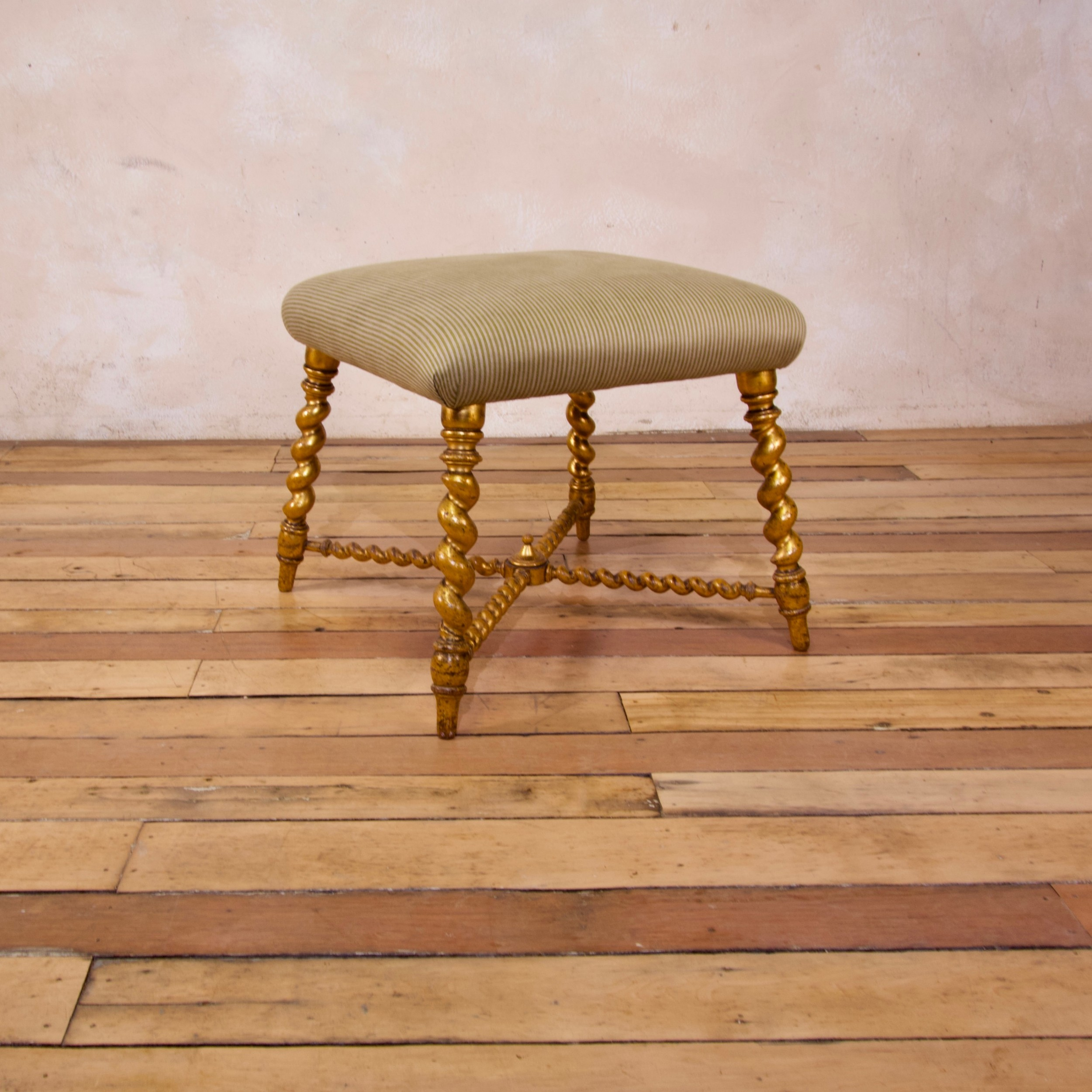 a 19th century french square giltwood upholstered foot stool