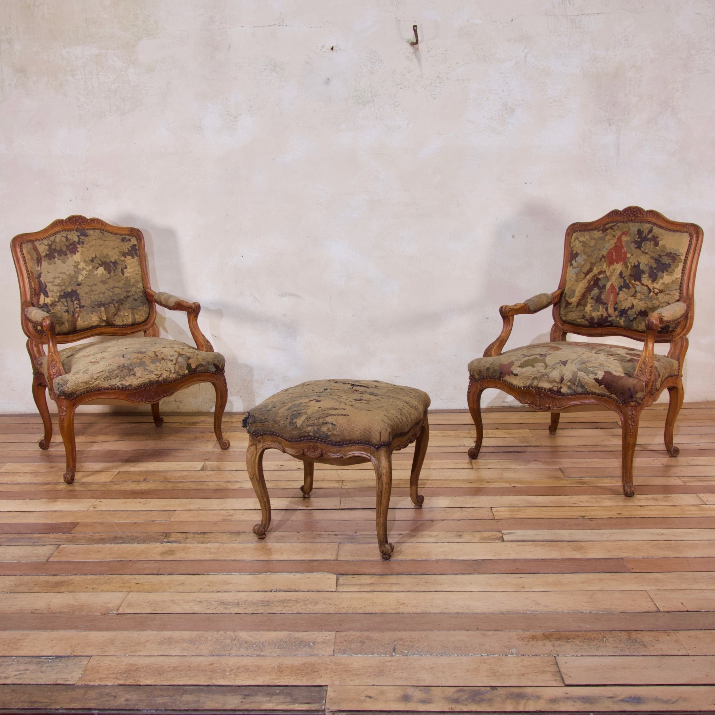 a pair of late 18th century french louis xv fauteuils aubusson tapestry