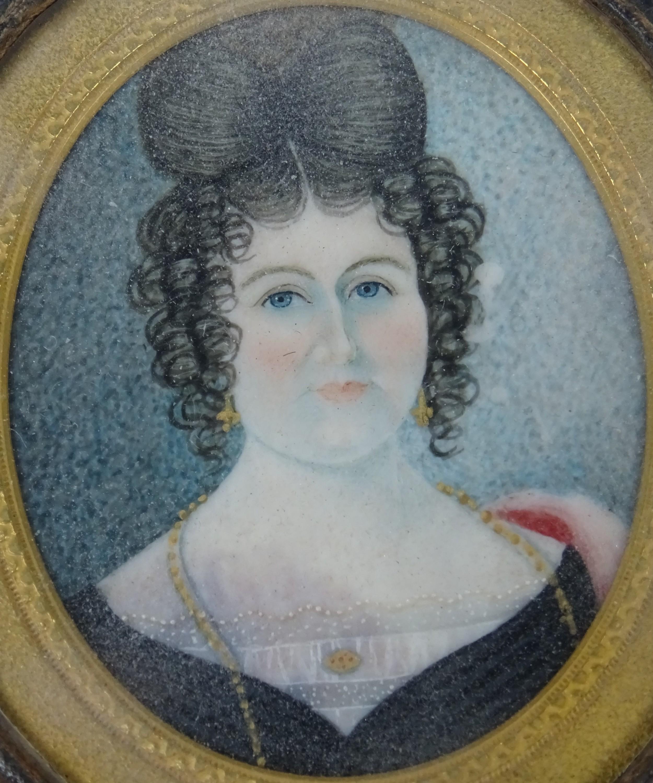 portrait miniature of a woman on ivory
