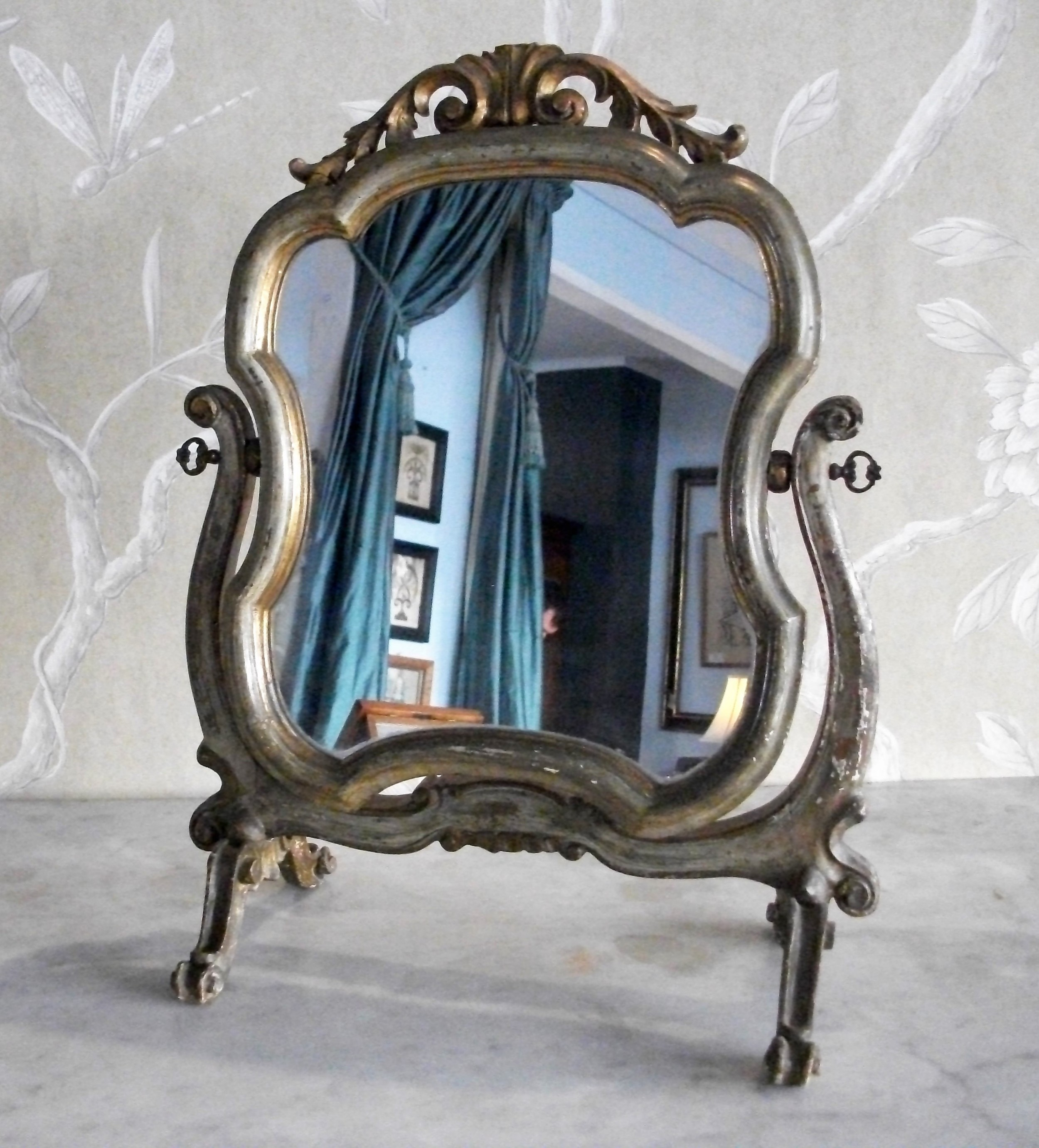 italian venetian swing painted lady's dressing toilet mirror