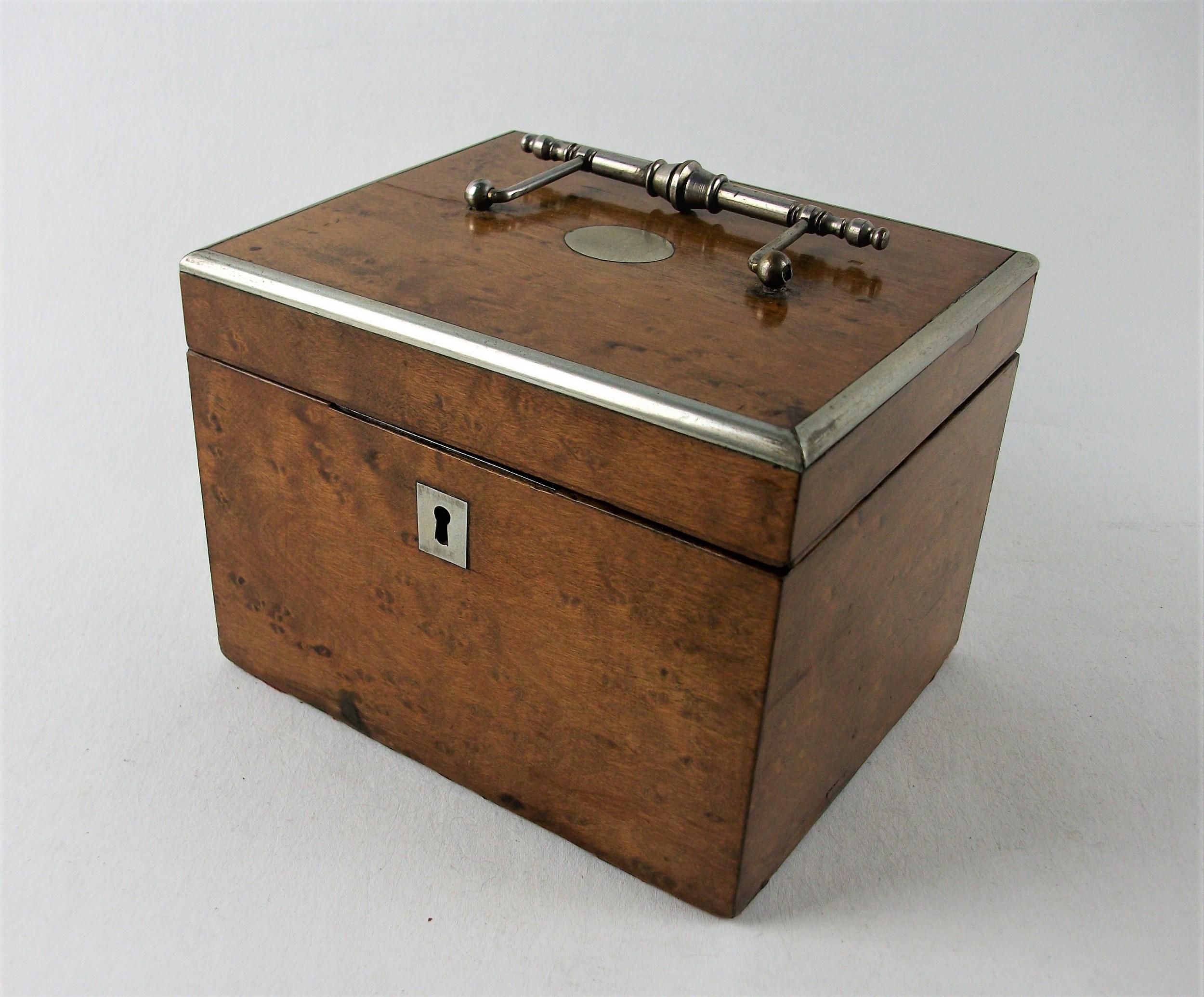 antique burr maple tea caddy