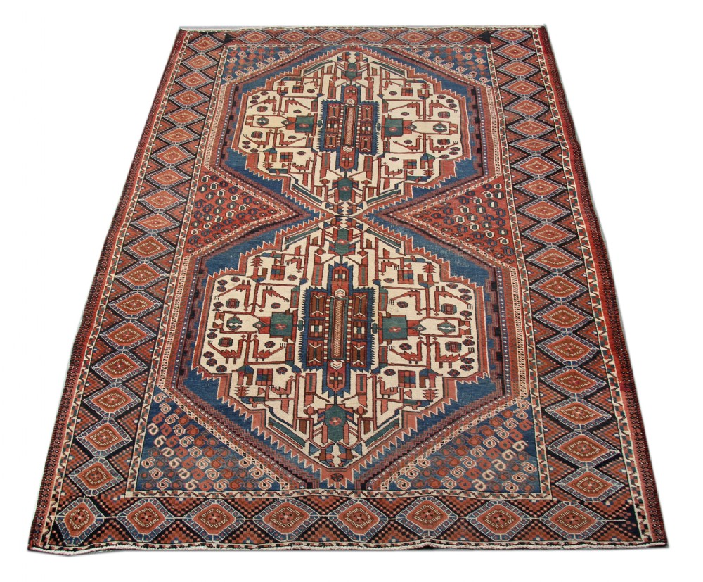 handmade antique persian carpet afshar rug 134x250cm