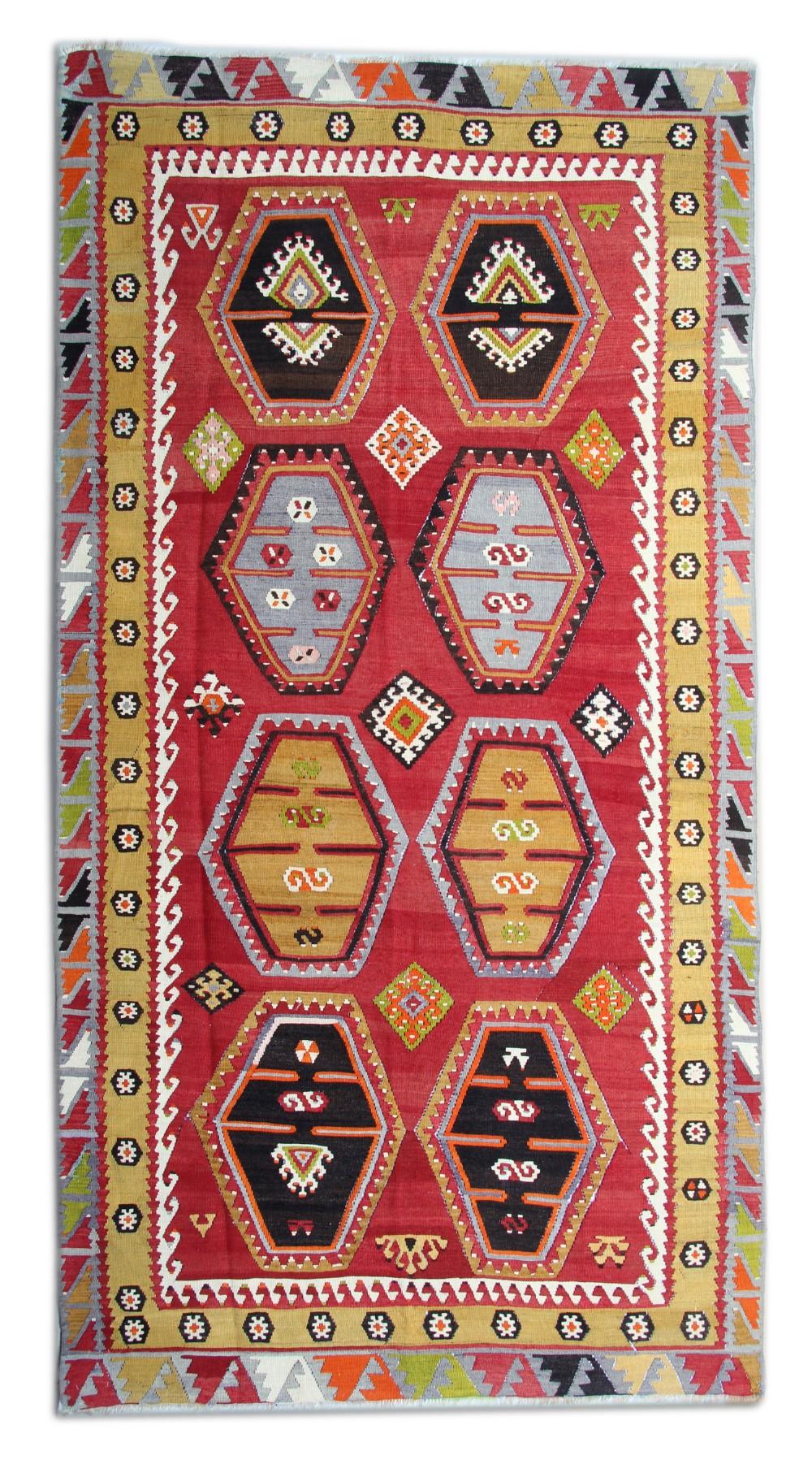 handwoven turkish kilim red wool rug traditional anatolian kilim area rug 154x297cm