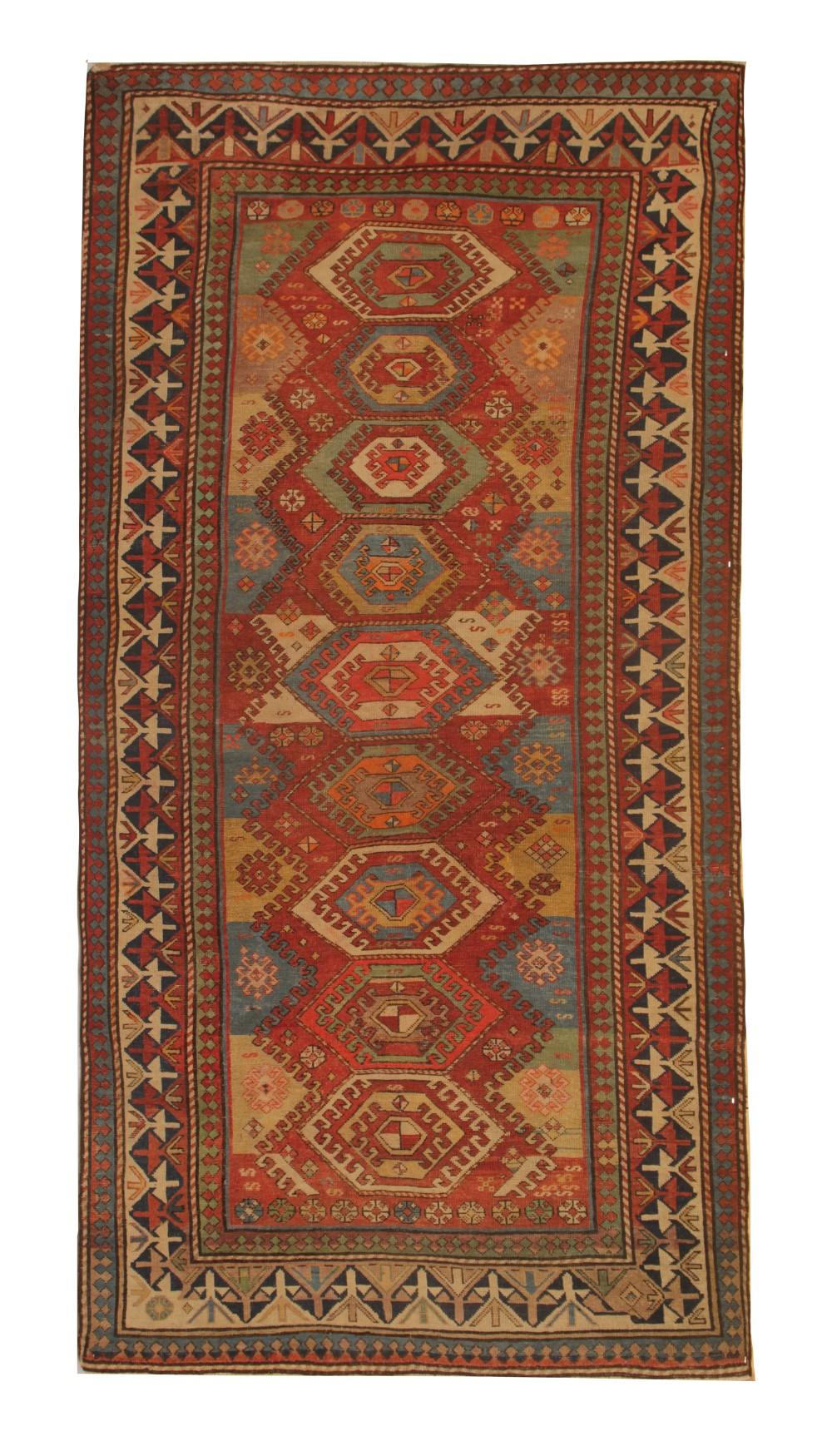traditional wool kazak rug 1880 handmade oriental caucasian rug 120x244cm