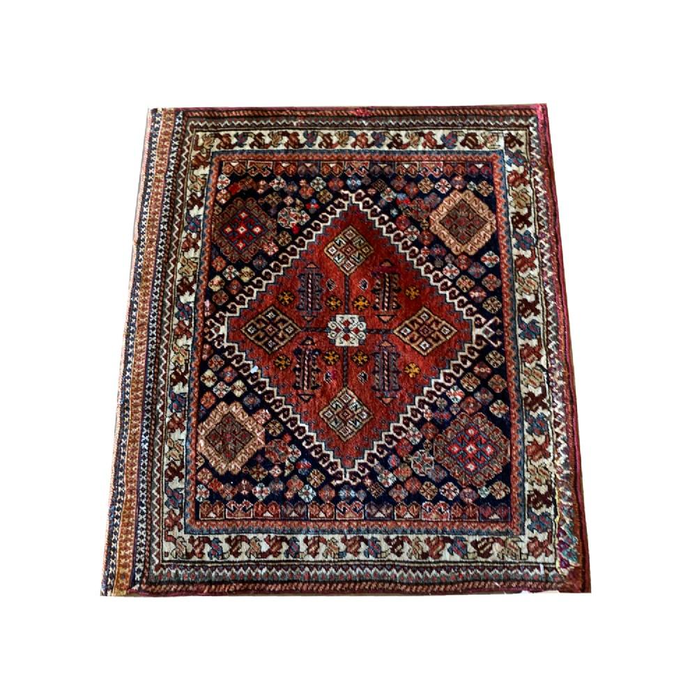 antique persian qashqai rug oriental wool carpet 53x60cm